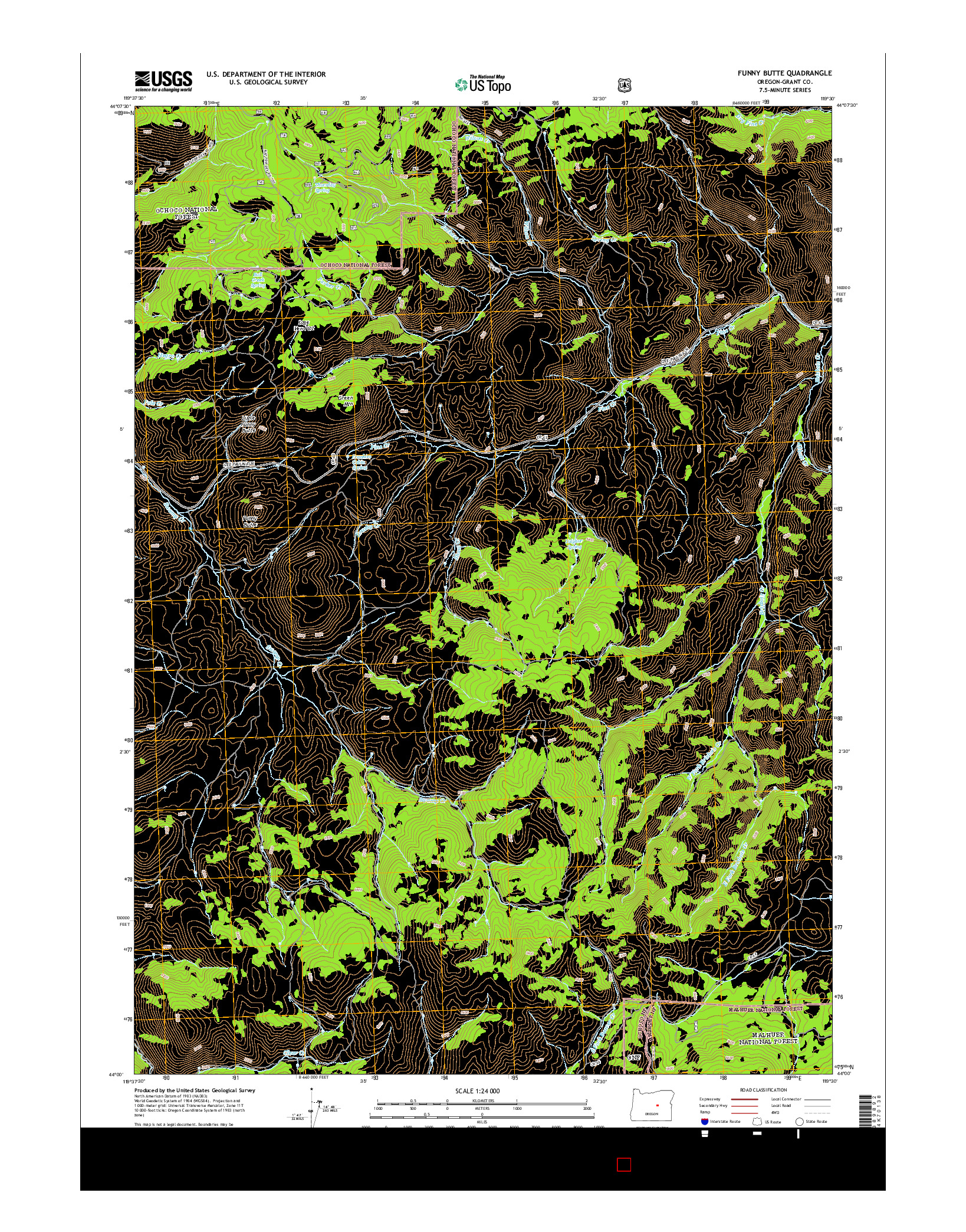 USGS US TOPO 7.5-MINUTE MAP FOR FUNNY BUTTE, OR 2014