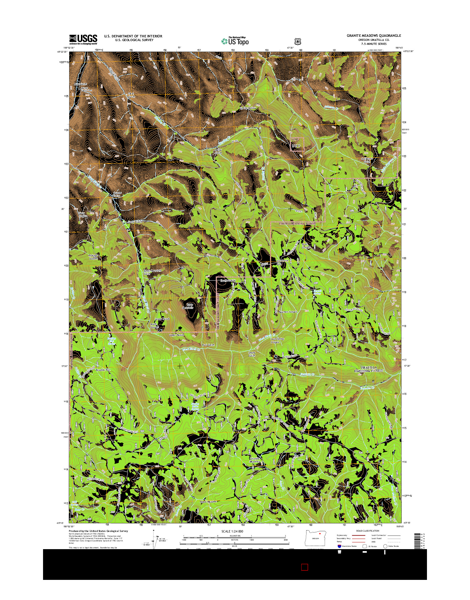 USGS US TOPO 7.5-MINUTE MAP FOR GRANITE MEADOWS, OR 2014