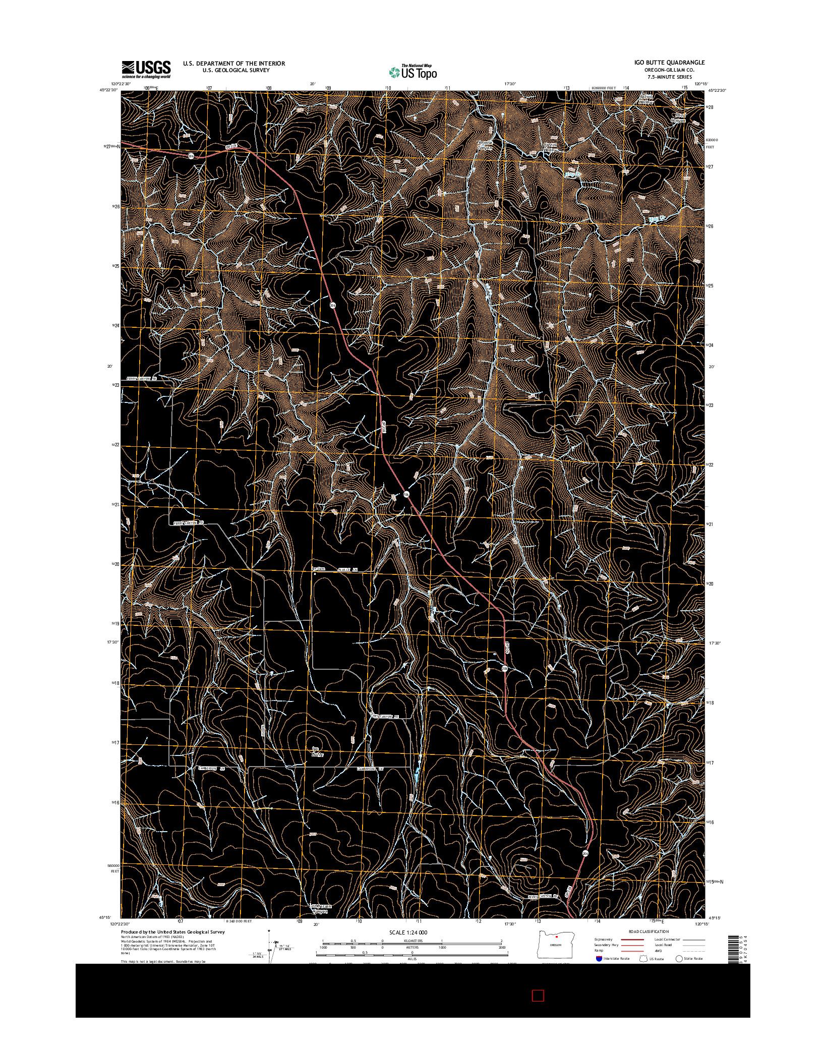 USGS US TOPO 7.5-MINUTE MAP FOR IGO BUTTE, OR 2014