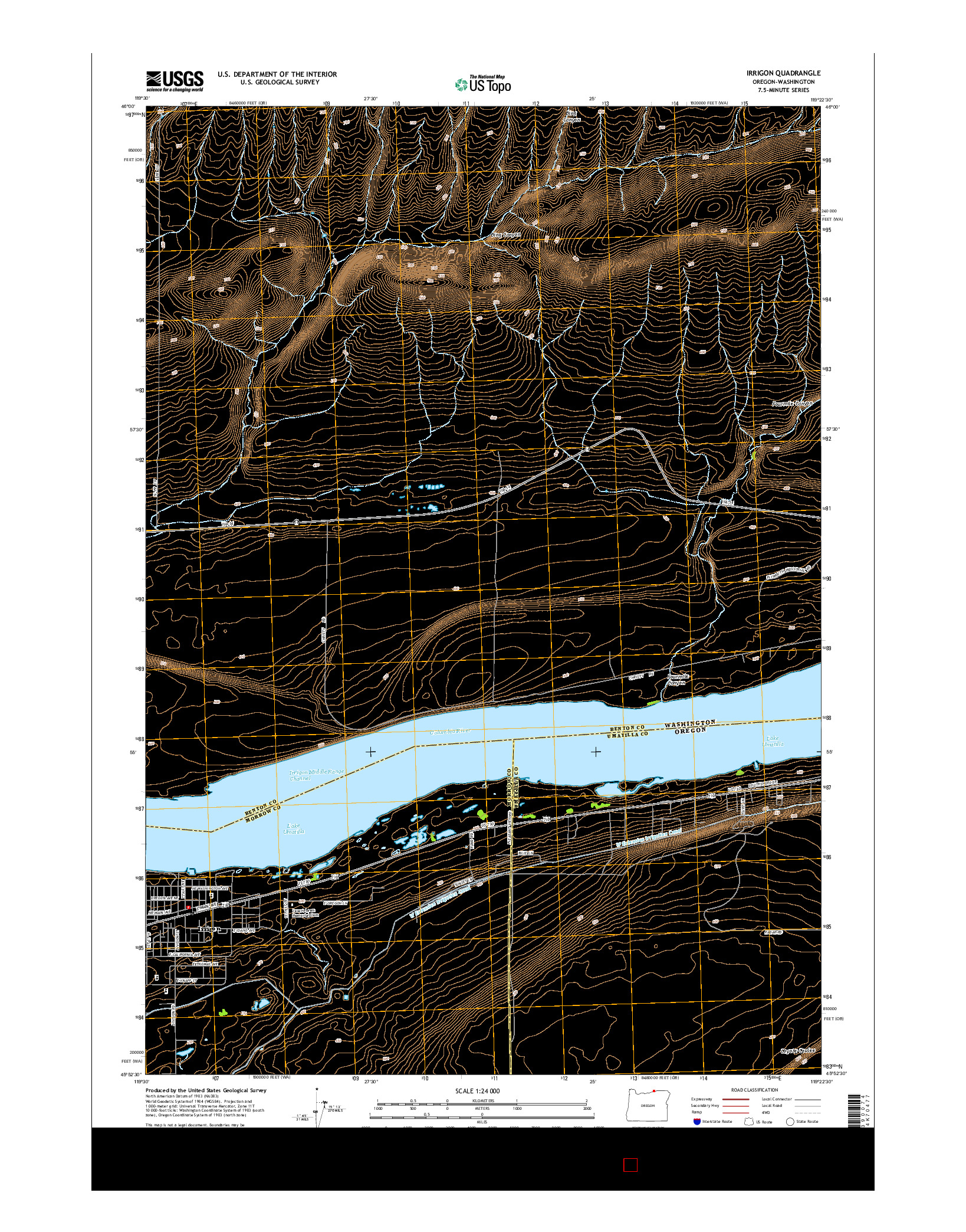 USGS US TOPO 7.5-MINUTE MAP FOR IRRIGON, OR-WA 2014