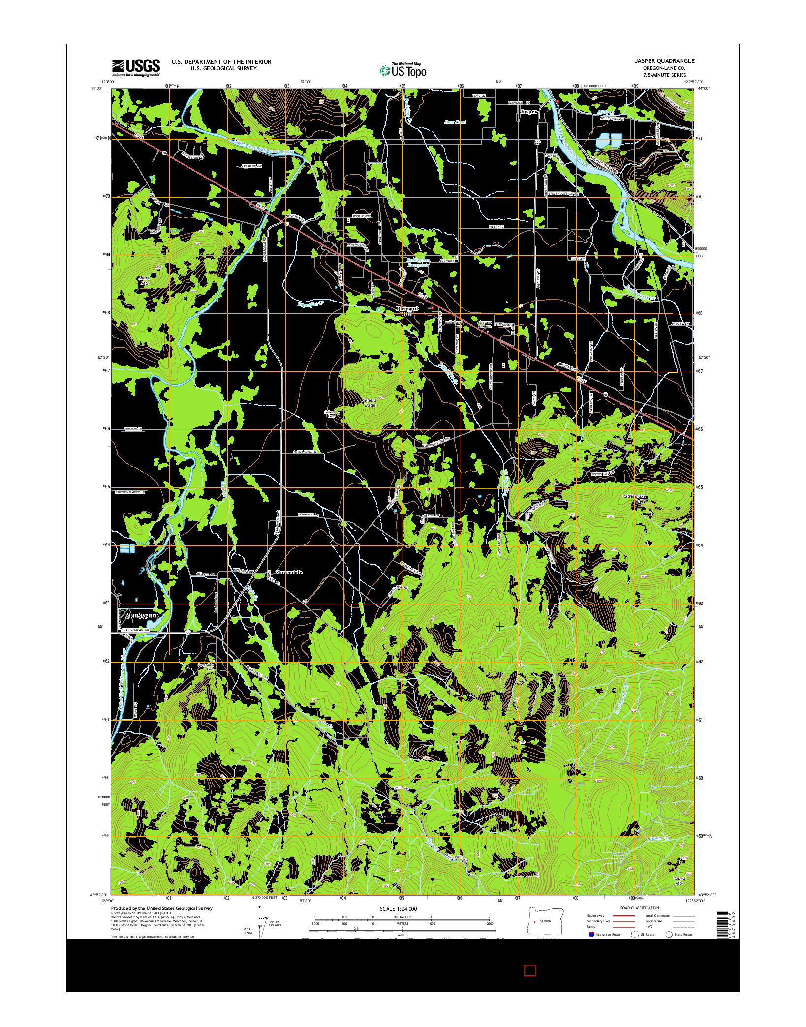 USGS US TOPO 7.5-MINUTE MAP FOR JASPER, OR 2014