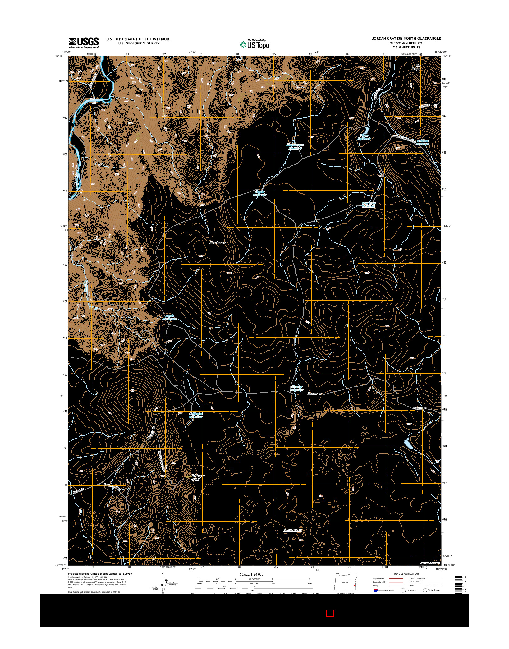 USGS US TOPO 7.5-MINUTE MAP FOR JORDAN CRATERS NORTH, OR 2014