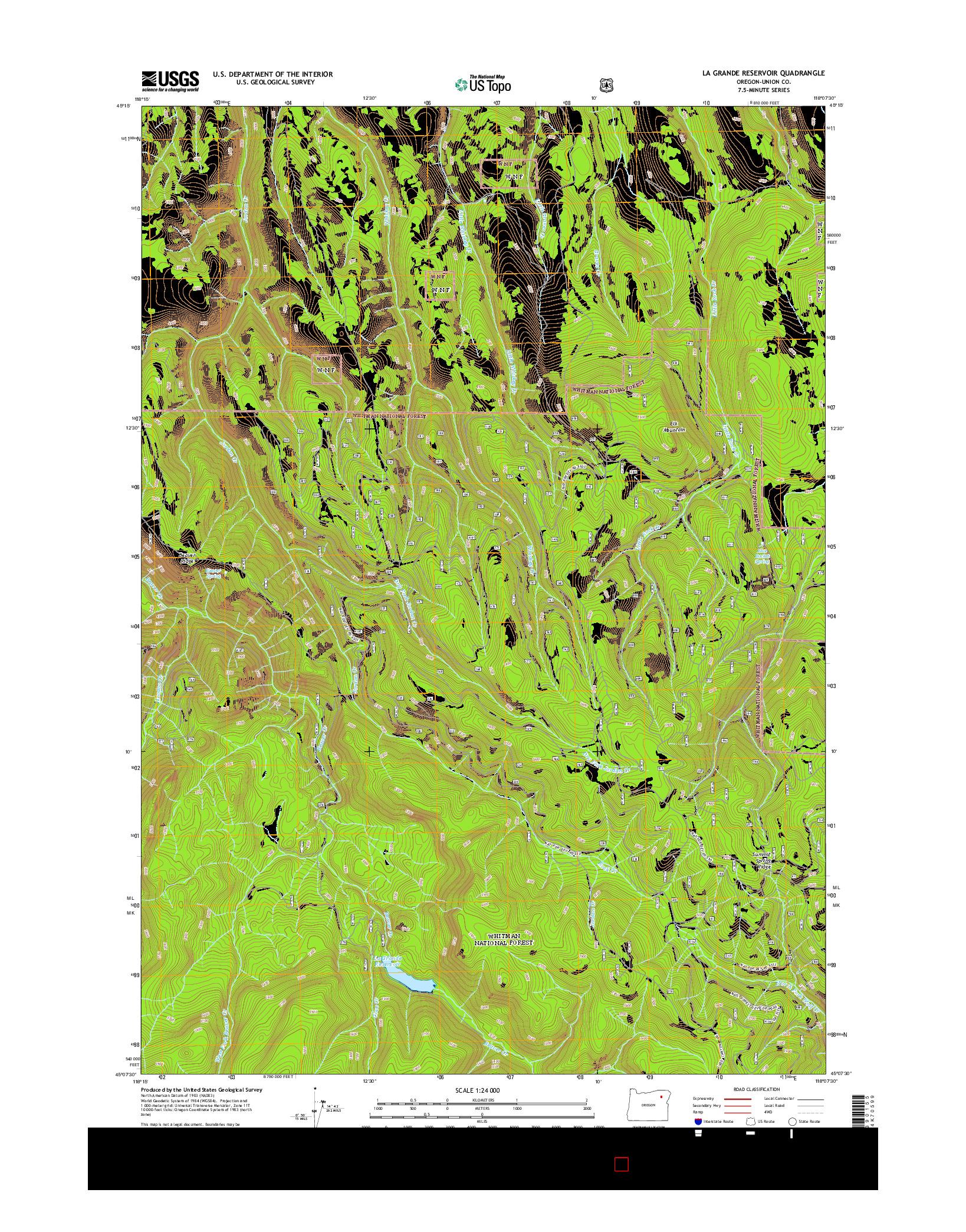 USGS US TOPO 7.5-MINUTE MAP FOR LA GRANDE RESERVOIR, OR 2014