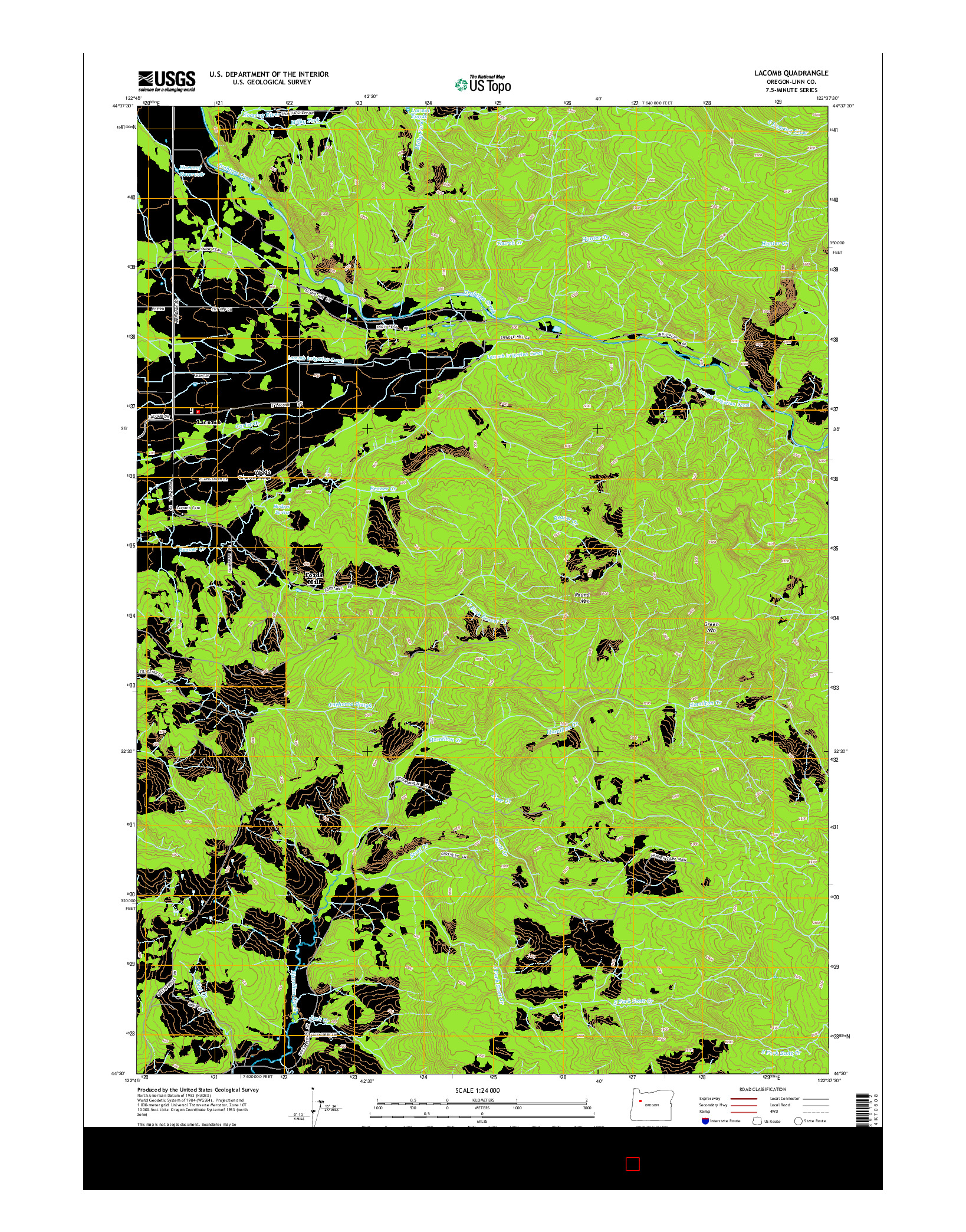 USGS US TOPO 7.5-MINUTE MAP FOR LACOMB, OR 2014