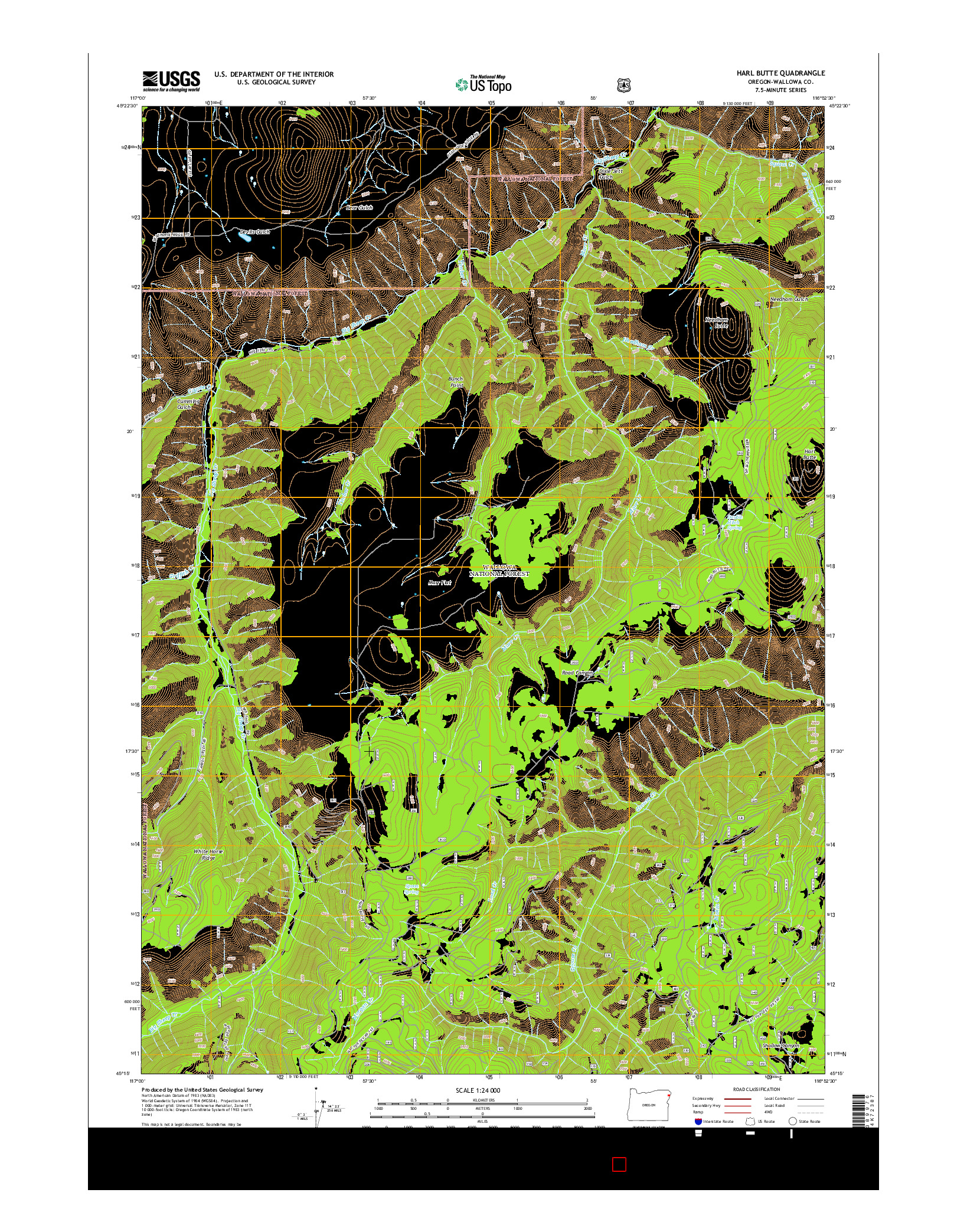 USGS US TOPO 7.5-MINUTE MAP FOR HARL BUTTE, OR 2014