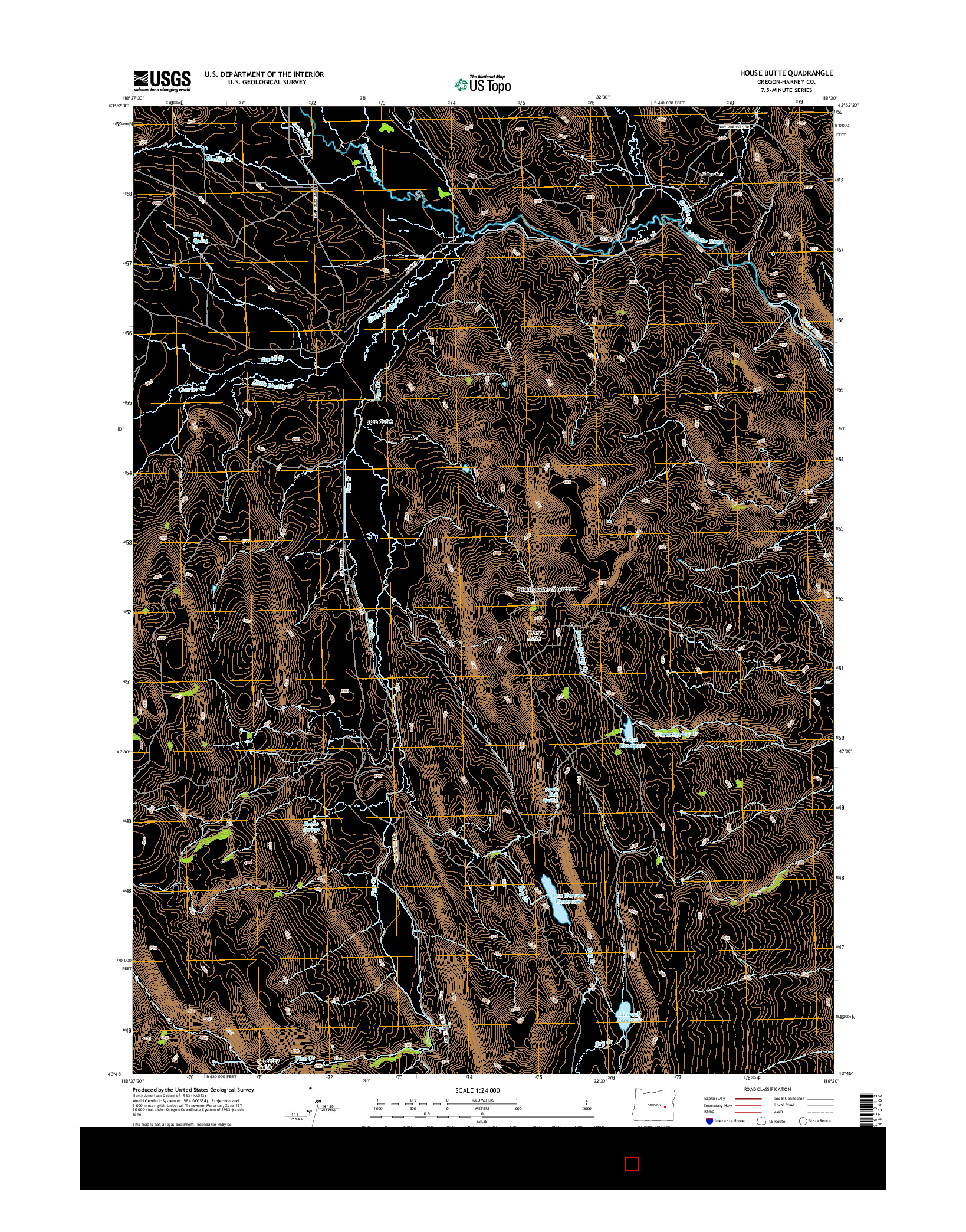 USGS US TOPO 7.5-MINUTE MAP FOR HOUSE BUTTE, OR 2014