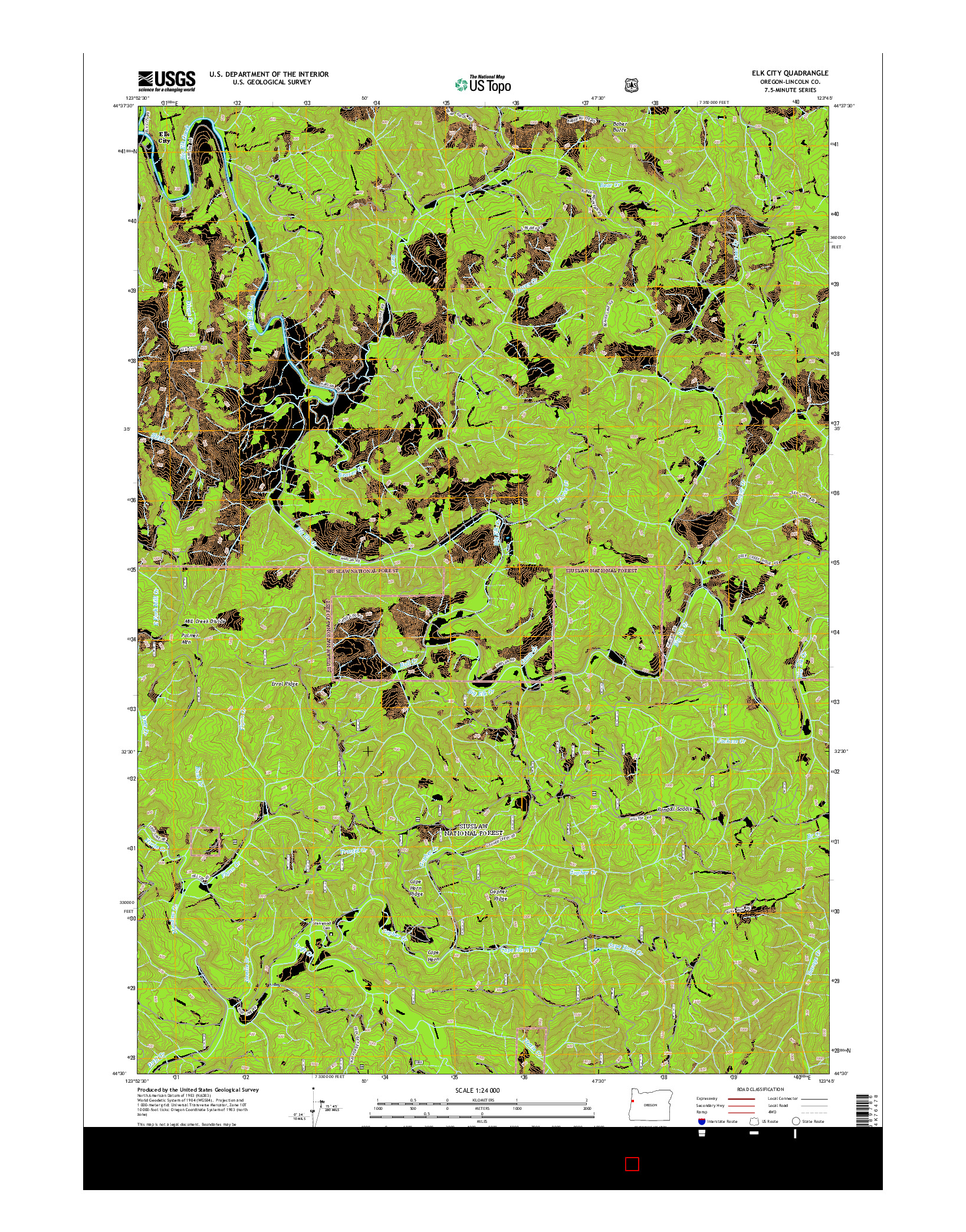 USGS US TOPO 7.5-MINUTE MAP FOR ELK CITY, OR 2014