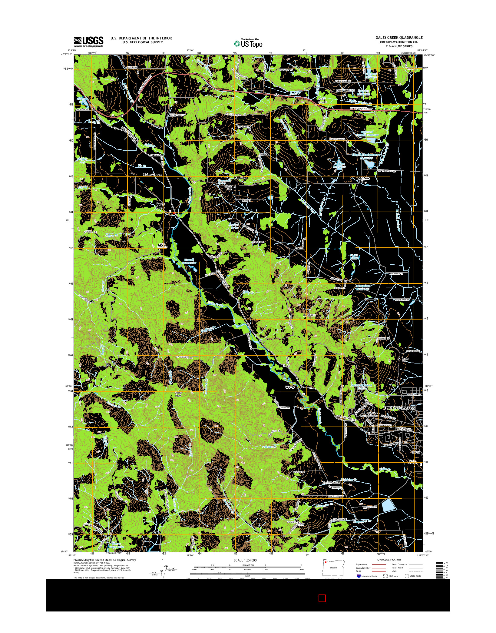 USGS US TOPO 7.5-MINUTE MAP FOR GALES CREEK, OR 2014