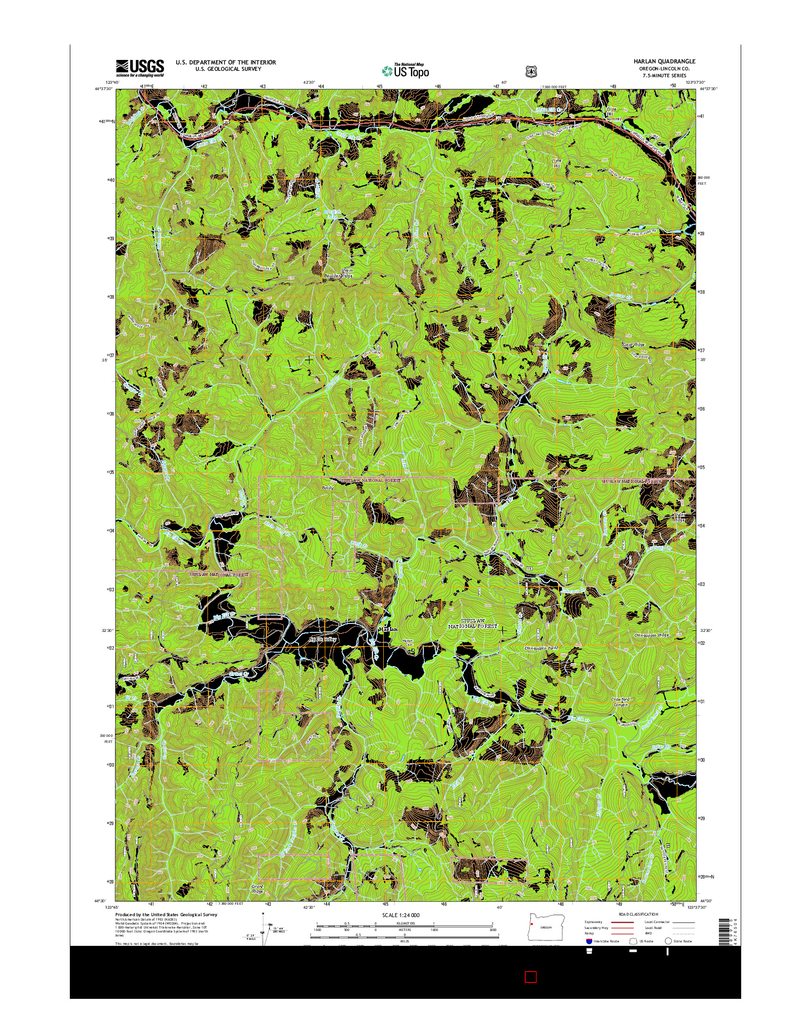 USGS US TOPO 7.5-MINUTE MAP FOR HARLAN, OR 2014