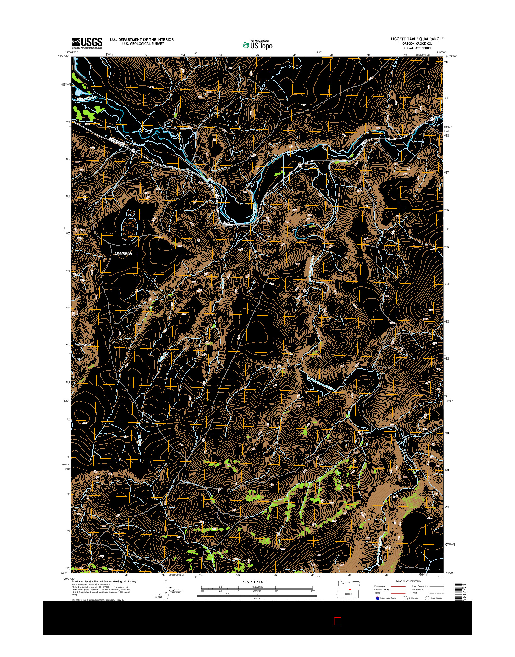 USGS US TOPO 7.5-MINUTE MAP FOR LIGGETT TABLE, OR 2014