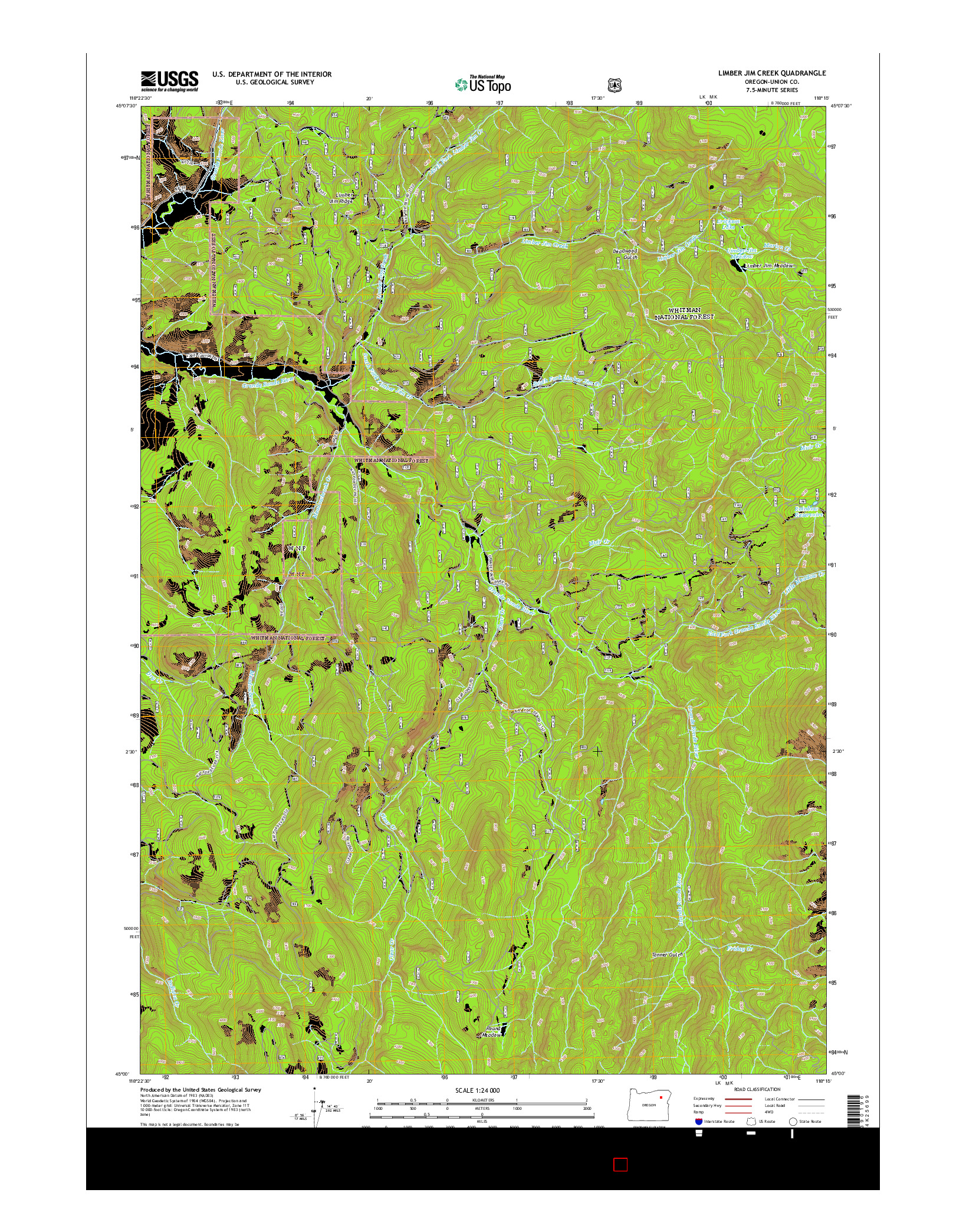USGS US TOPO 7.5-MINUTE MAP FOR LIMBER JIM CREEK, OR 2014