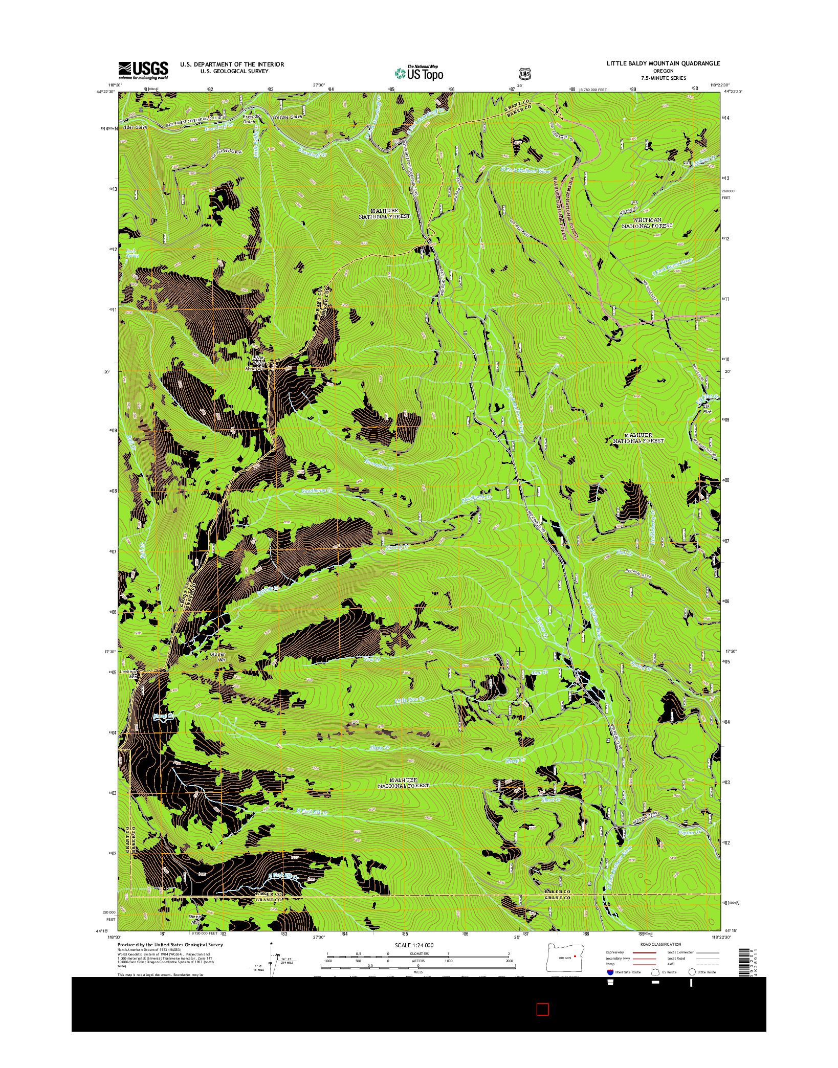 USGS US TOPO 7.5-MINUTE MAP FOR LITTLE BALDY MOUNTAIN, OR 2014