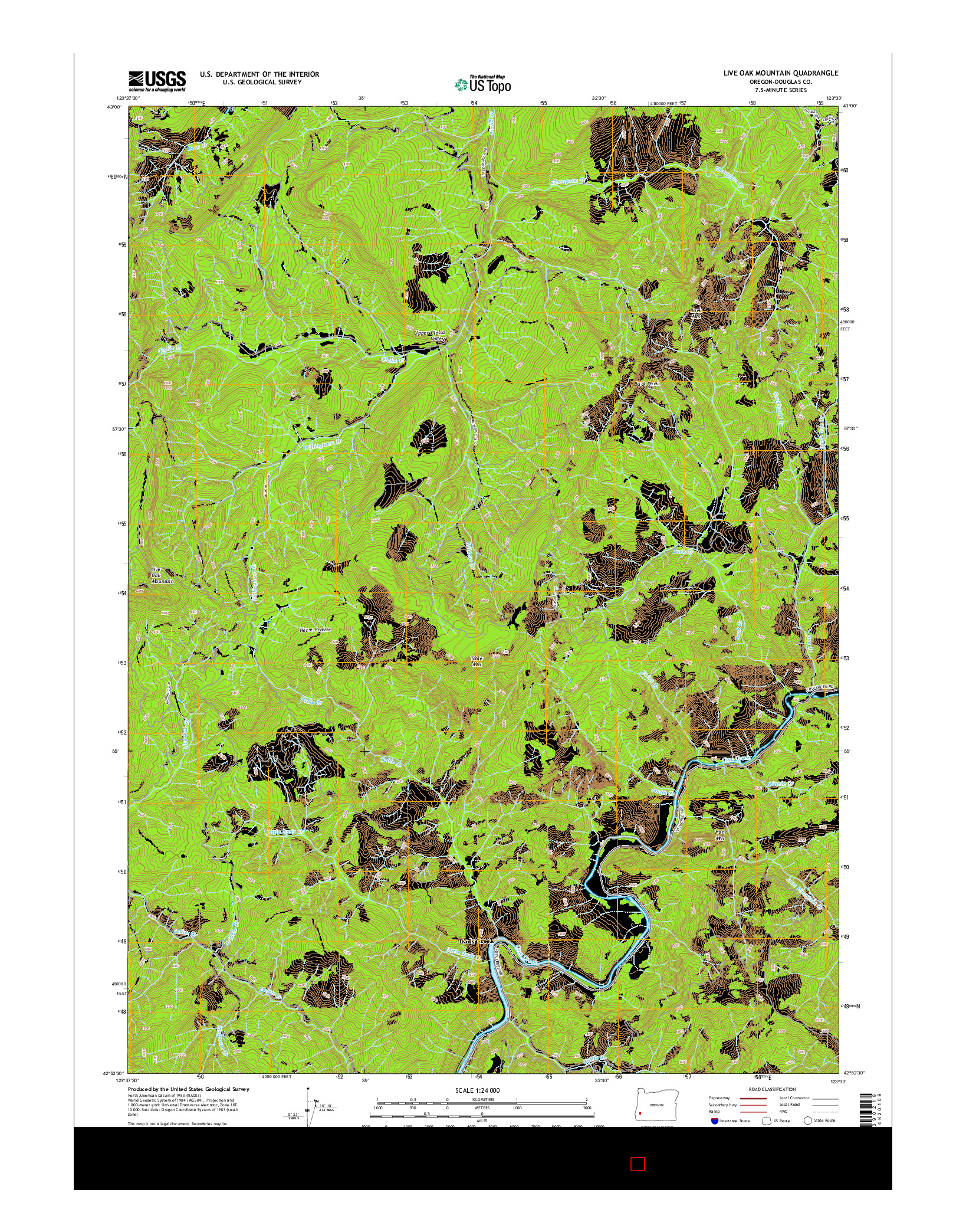USGS US TOPO 7.5-MINUTE MAP FOR LIVE OAK MOUNTAIN, OR 2014