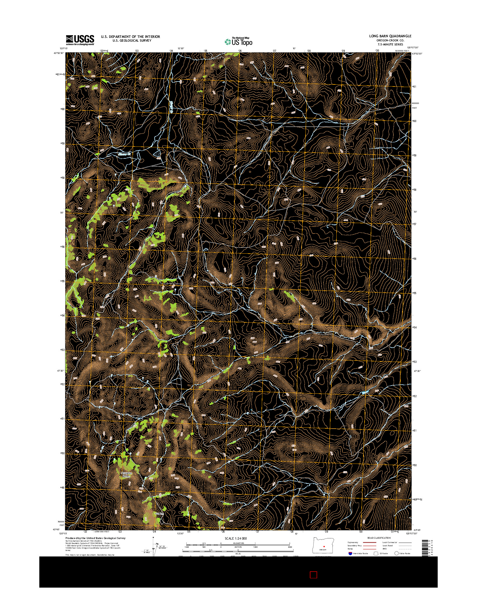 USGS US TOPO 7.5-MINUTE MAP FOR LONG BARN, OR 2014