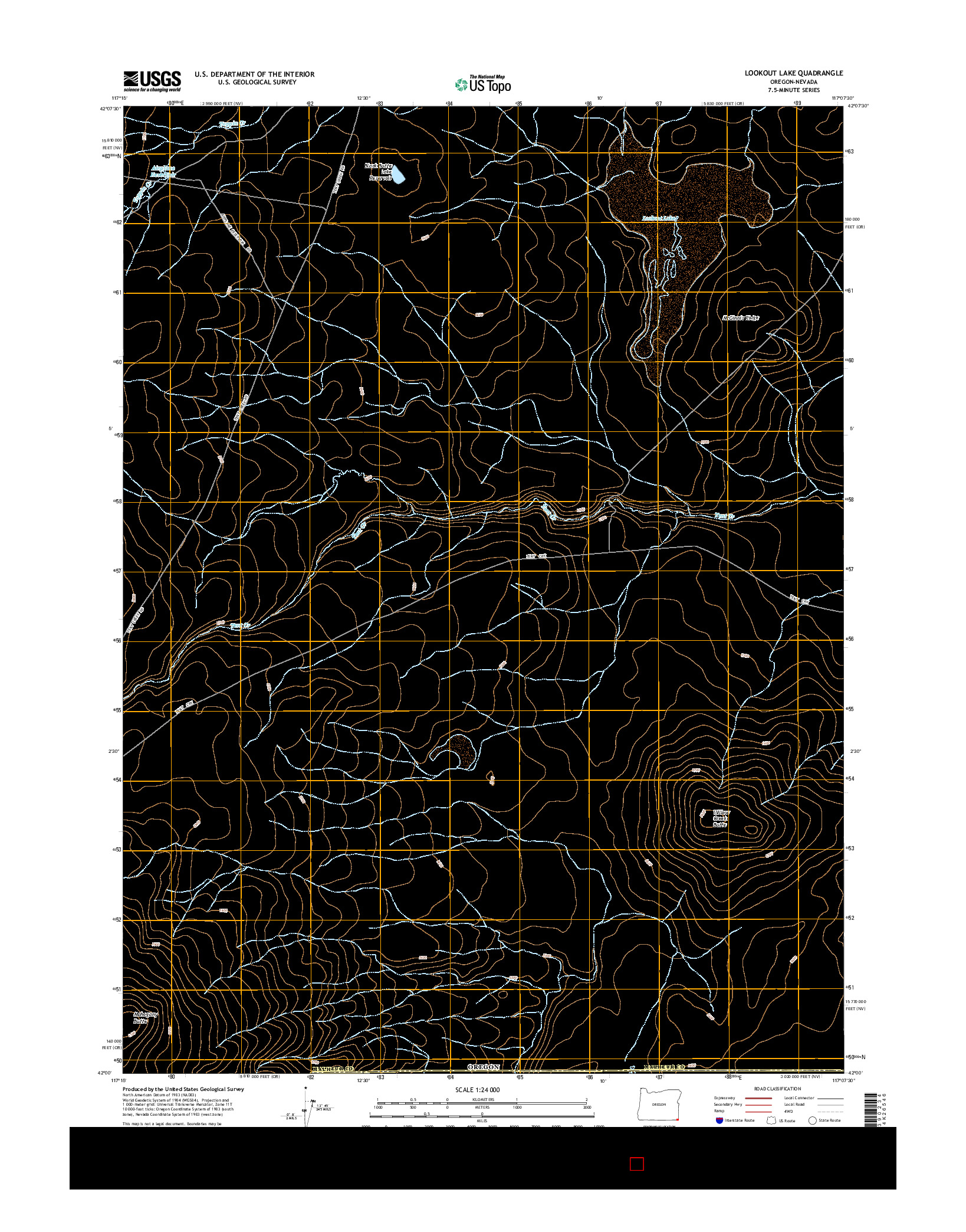 USGS US TOPO 7.5-MINUTE MAP FOR LOOKOUT LAKE, OR-NV 2014