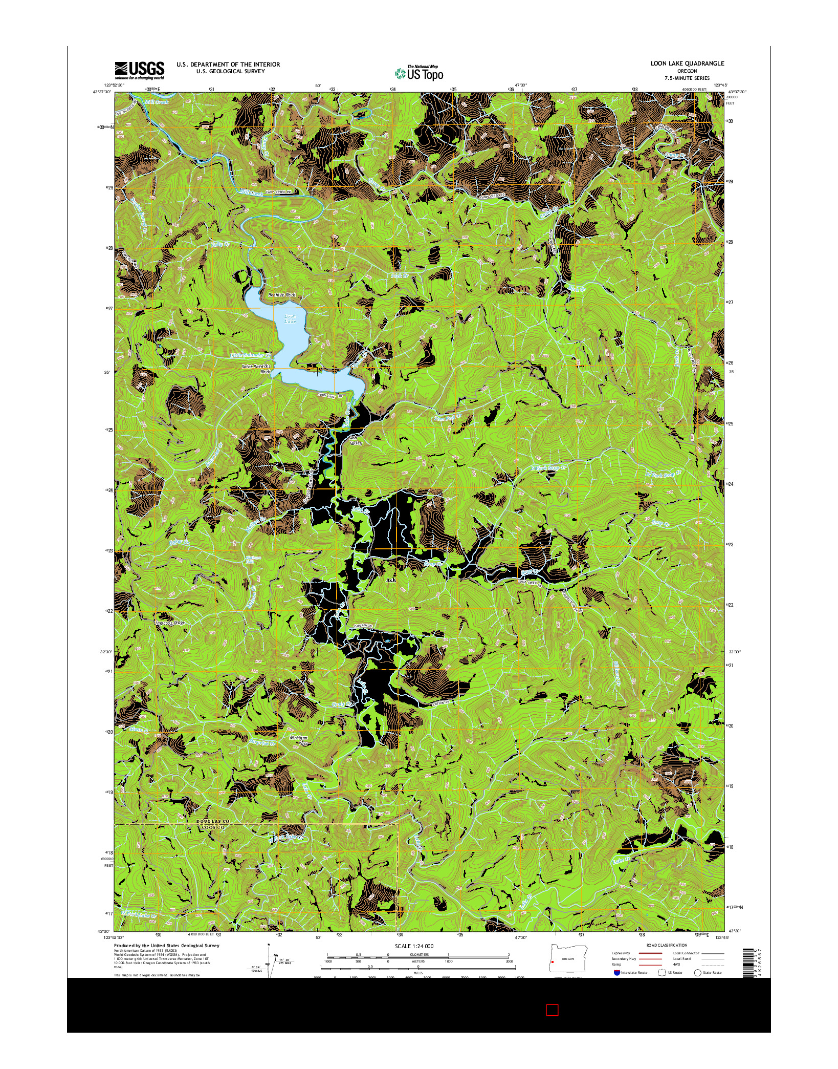 USGS US TOPO 7.5-MINUTE MAP FOR LOON LAKE, OR 2014