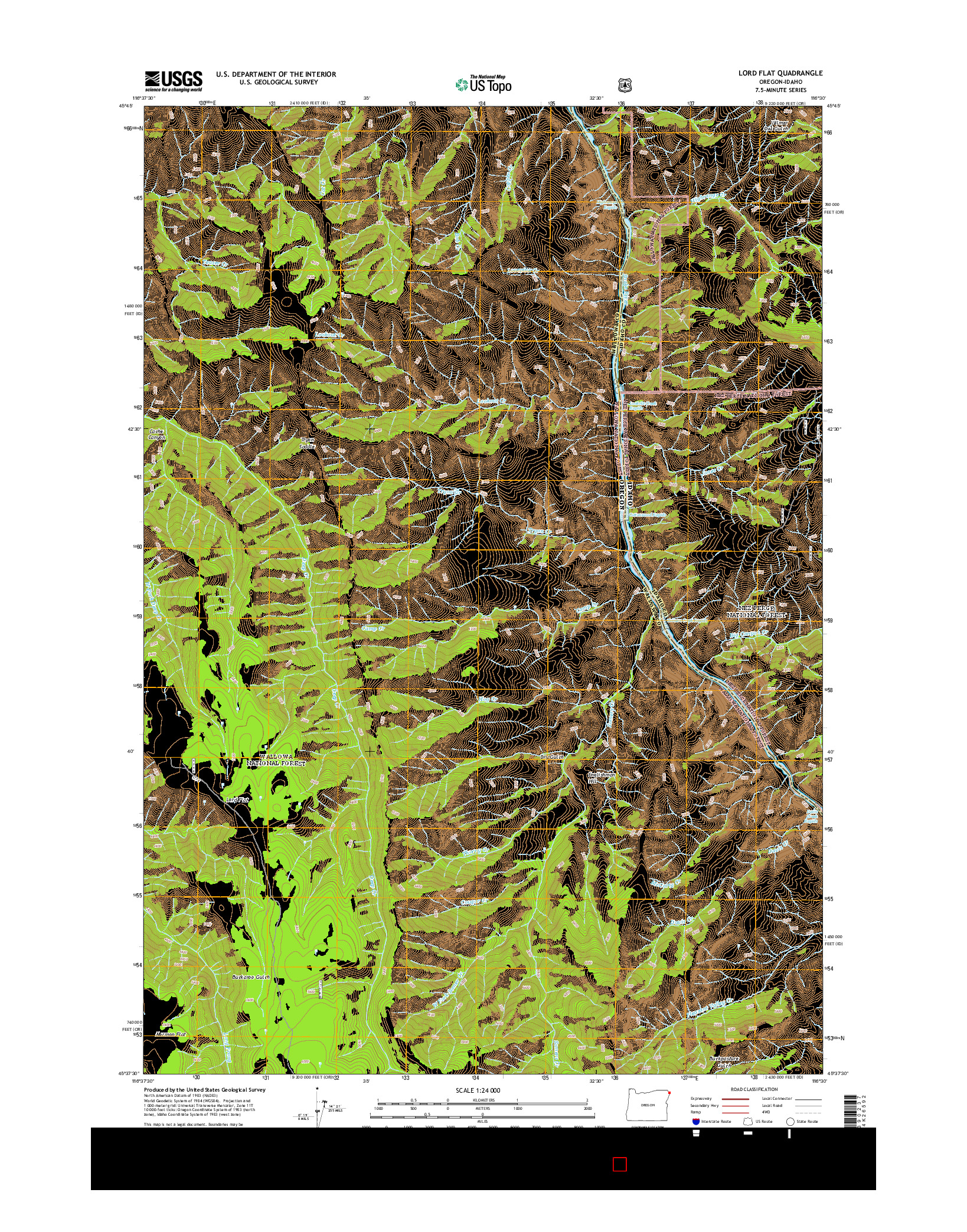 USGS US TOPO 7.5-MINUTE MAP FOR LORD FLAT, OR-ID 2014