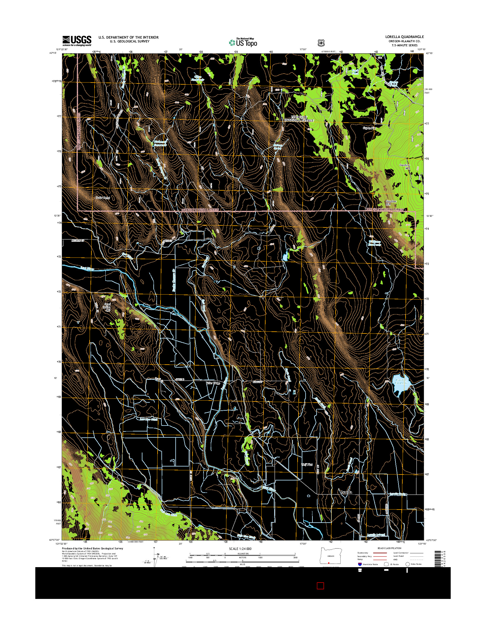 USGS US TOPO 7.5-MINUTE MAP FOR LORELLA, OR 2014