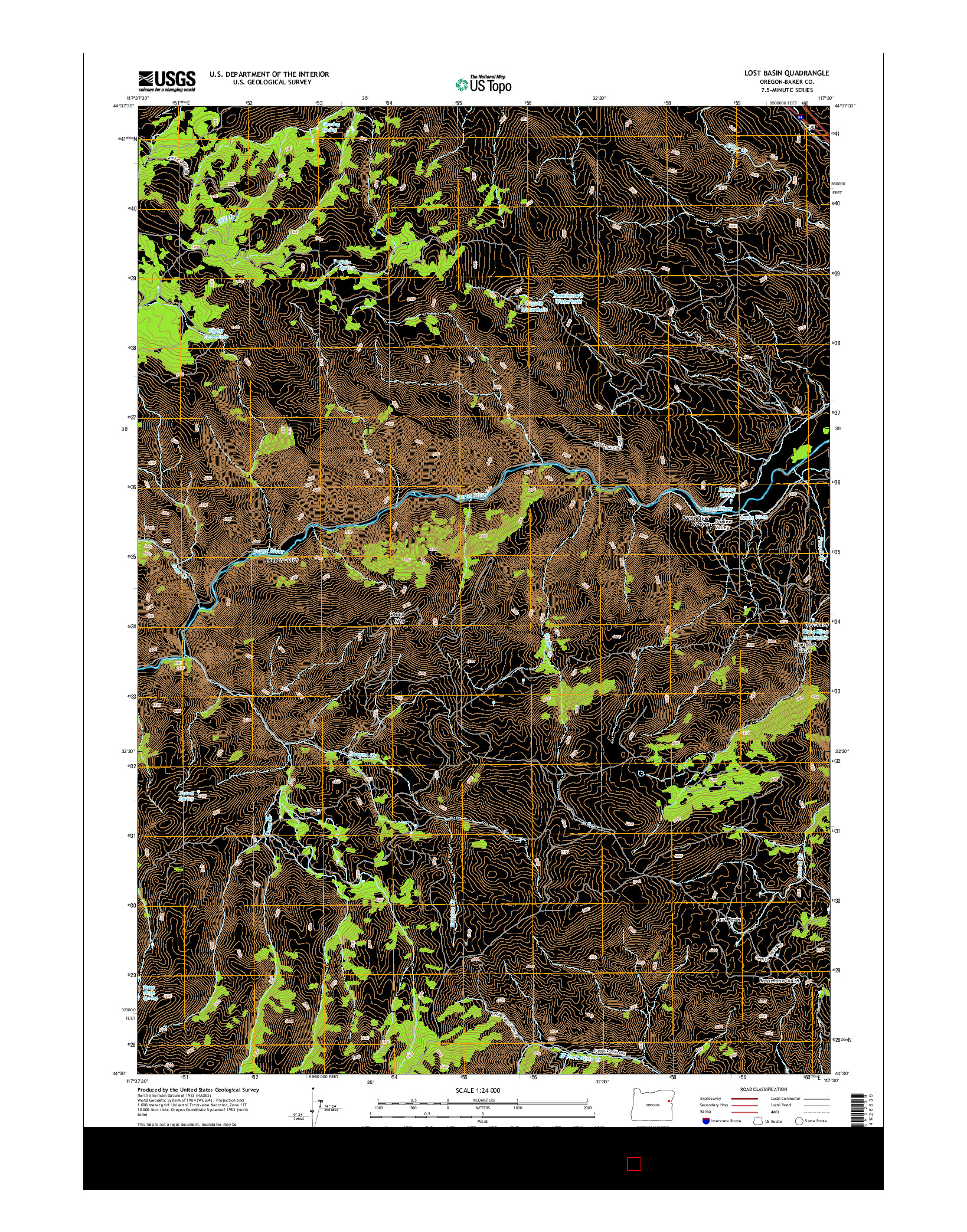 USGS US TOPO 7.5-MINUTE MAP FOR LOST BASIN, OR 2014