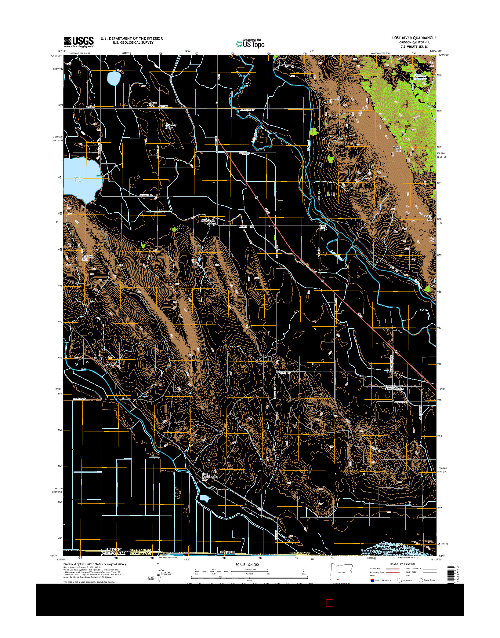 USGS US TOPO 7.5-MINUTE MAP FOR LOST RIVER, OR-CA 2014