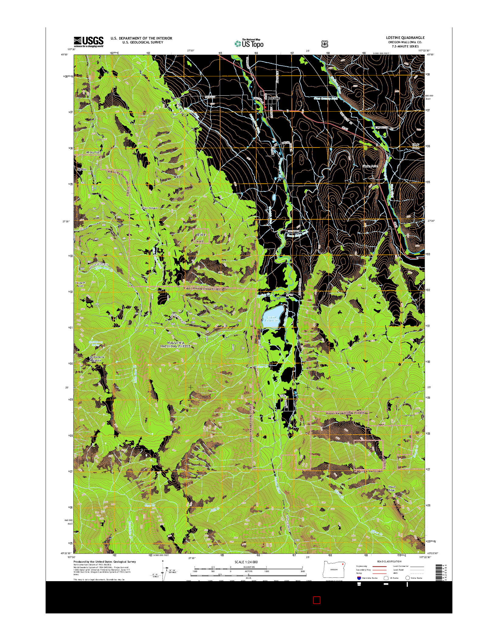 USGS US TOPO 7.5-MINUTE MAP FOR LOSTINE, OR 2014
