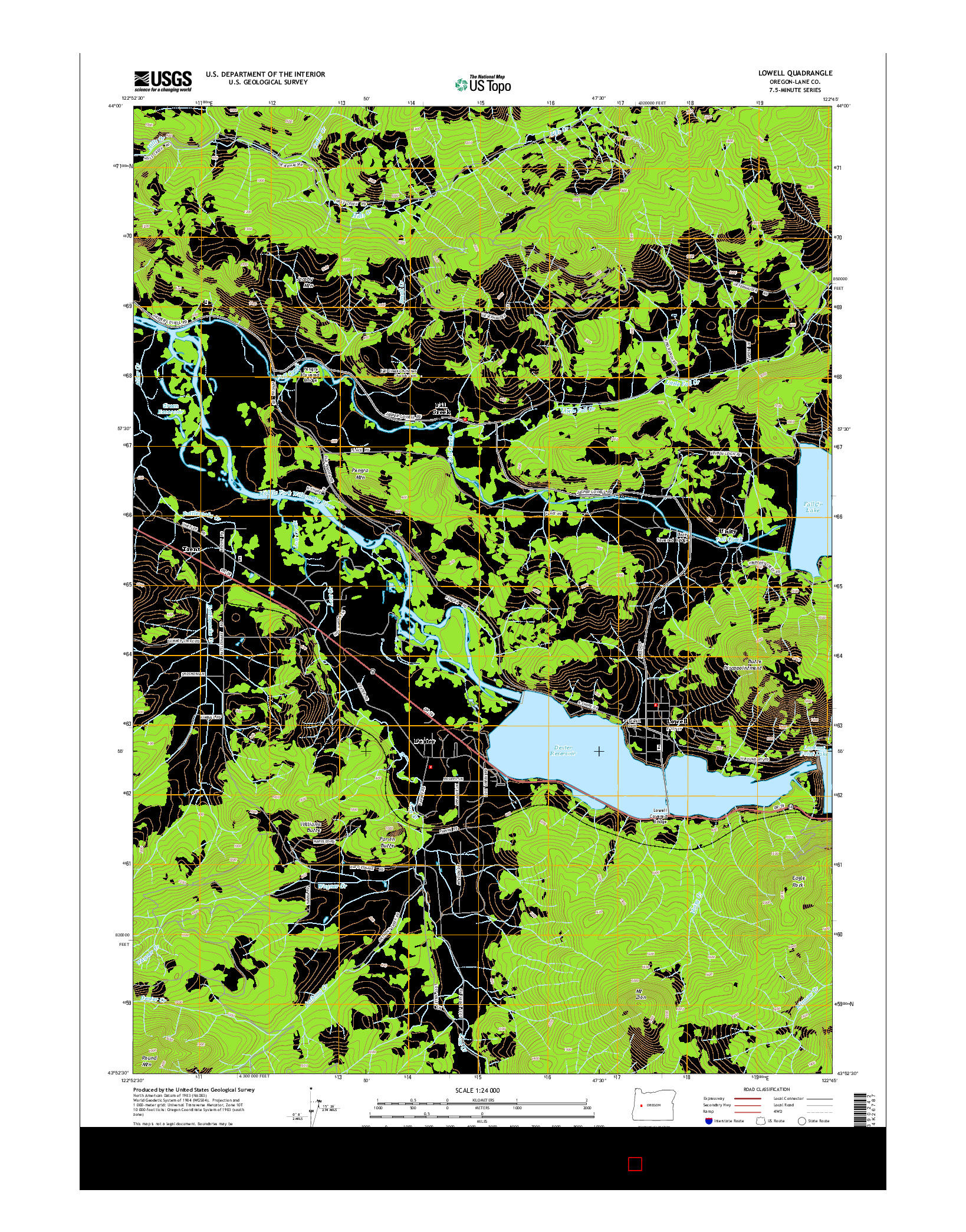 USGS US TOPO 7.5-MINUTE MAP FOR LOWELL, OR 2014