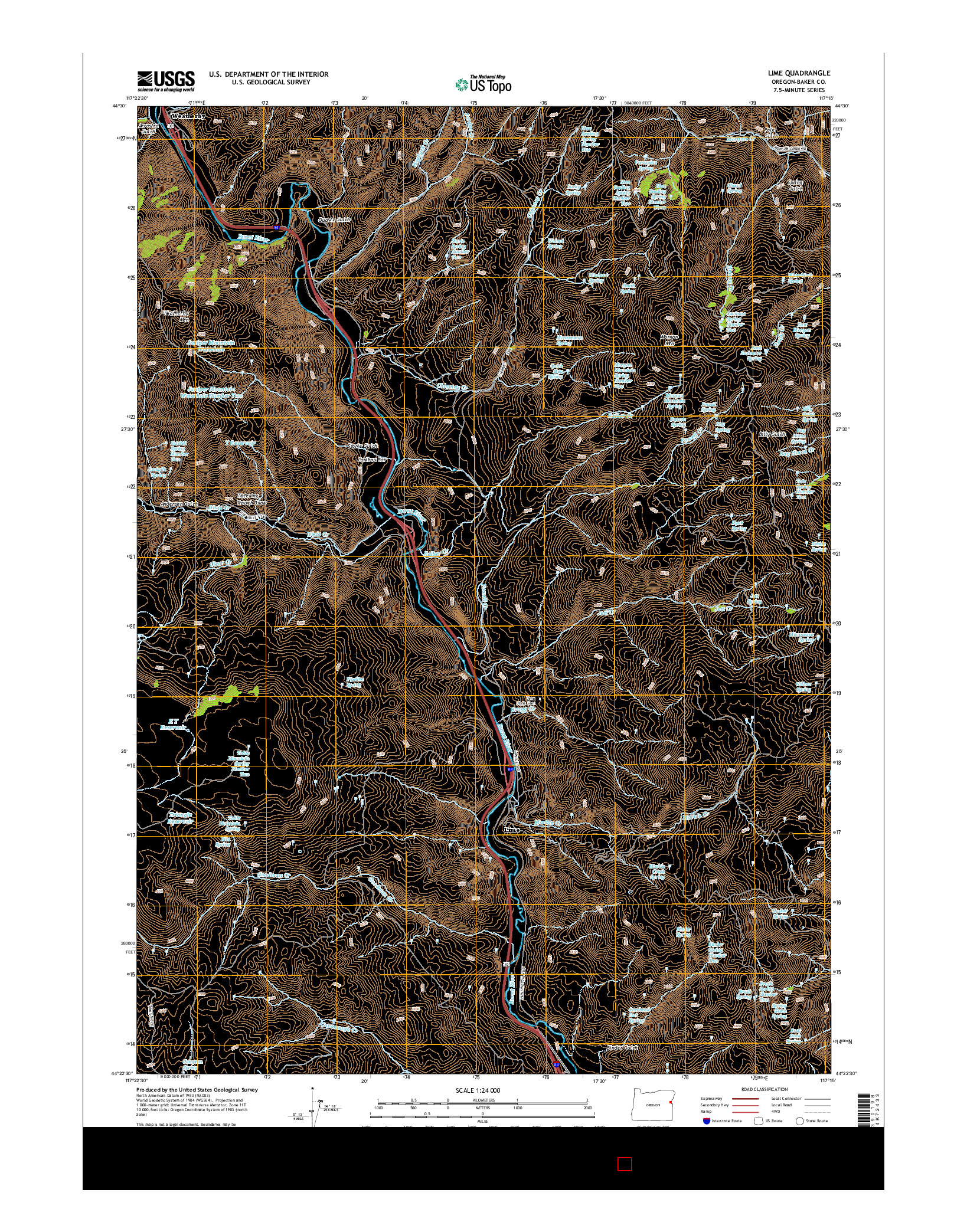 USGS US TOPO 7.5-MINUTE MAP FOR LIME, OR 2014