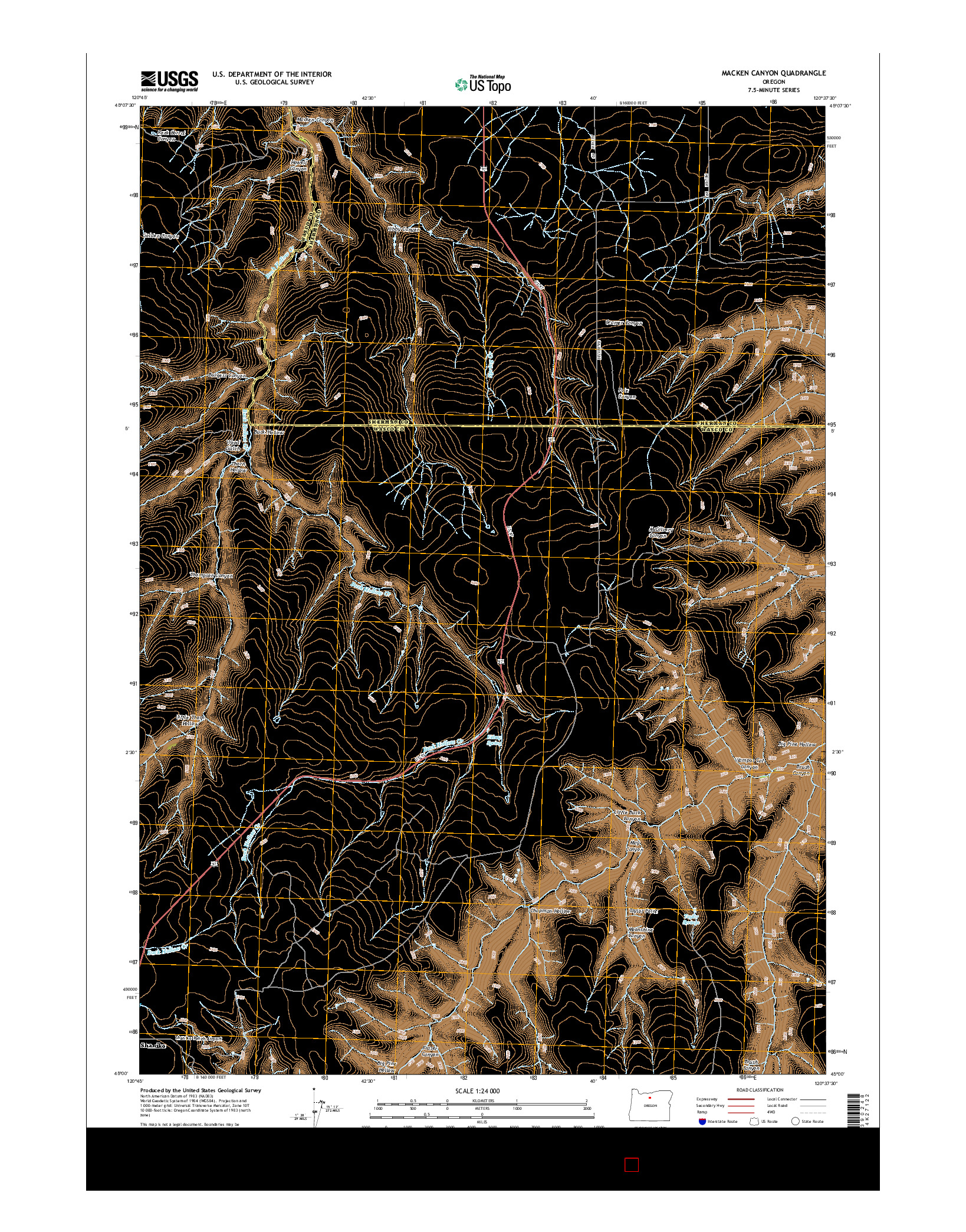 USGS US TOPO 7.5-MINUTE MAP FOR MACKEN CANYON, OR 2014
