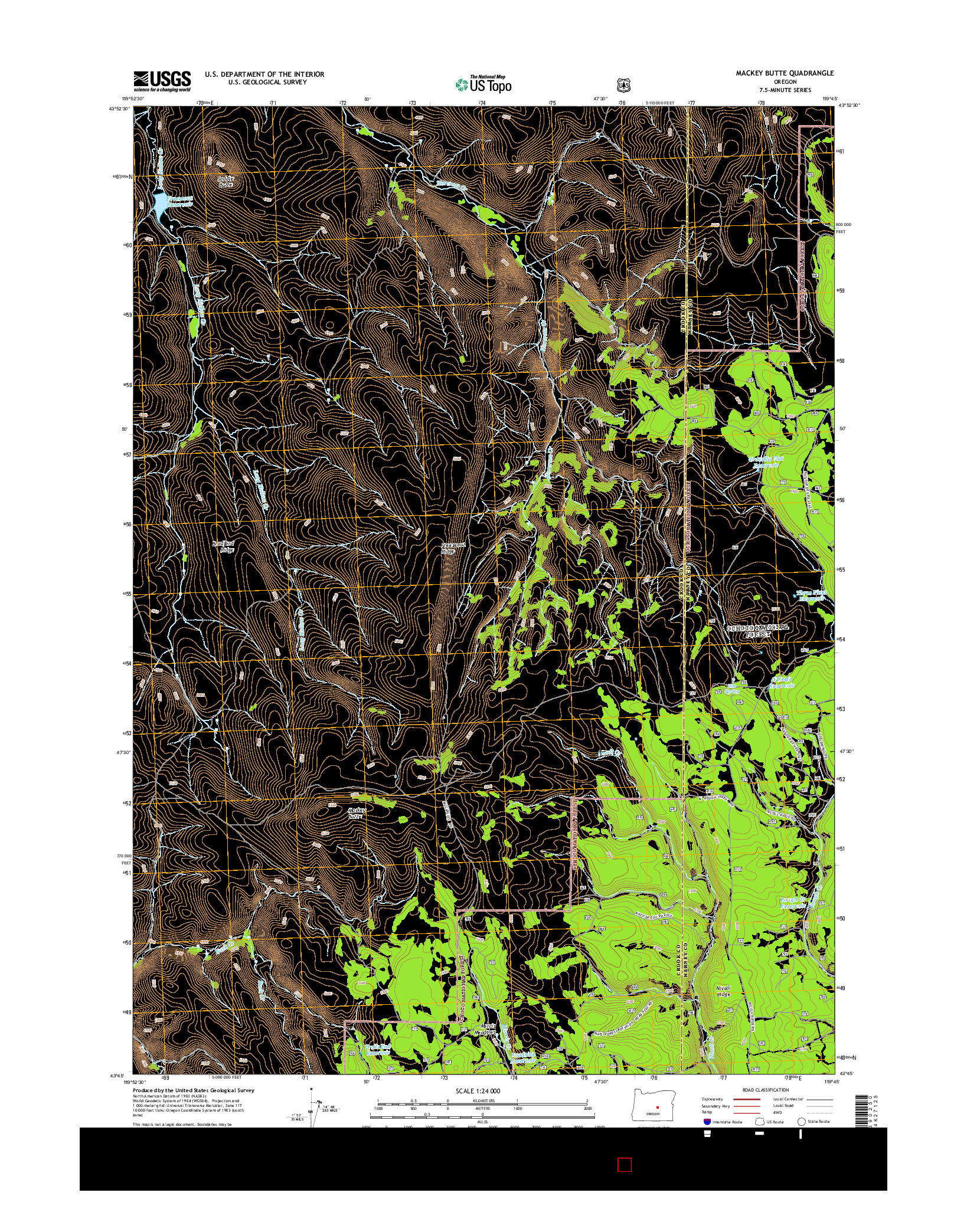 USGS US TOPO 7.5-MINUTE MAP FOR MACKEY BUTTE, OR 2014