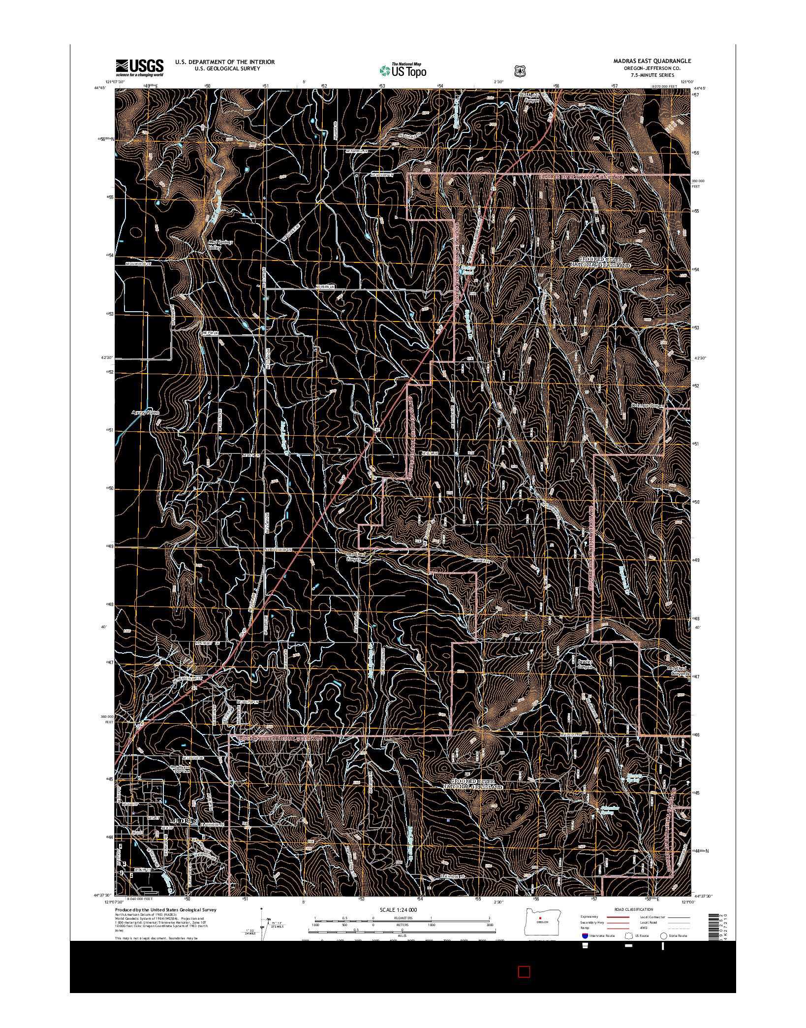 USGS US TOPO 7.5-MINUTE MAP FOR MADRAS EAST, OR 2014