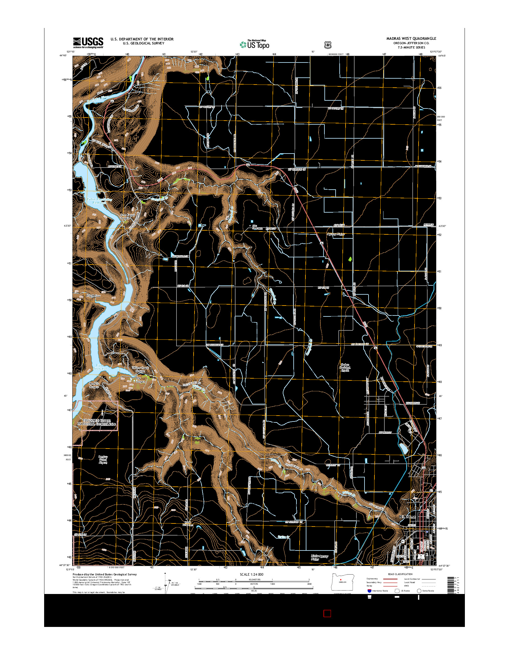 USGS US TOPO 7.5-MINUTE MAP FOR MADRAS WEST, OR 2014