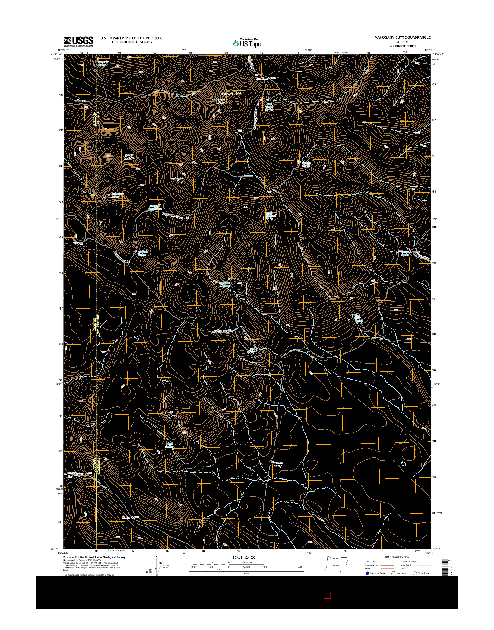 USGS US TOPO 7.5-MINUTE MAP FOR MAHOGANY BUTTE, OR 2014