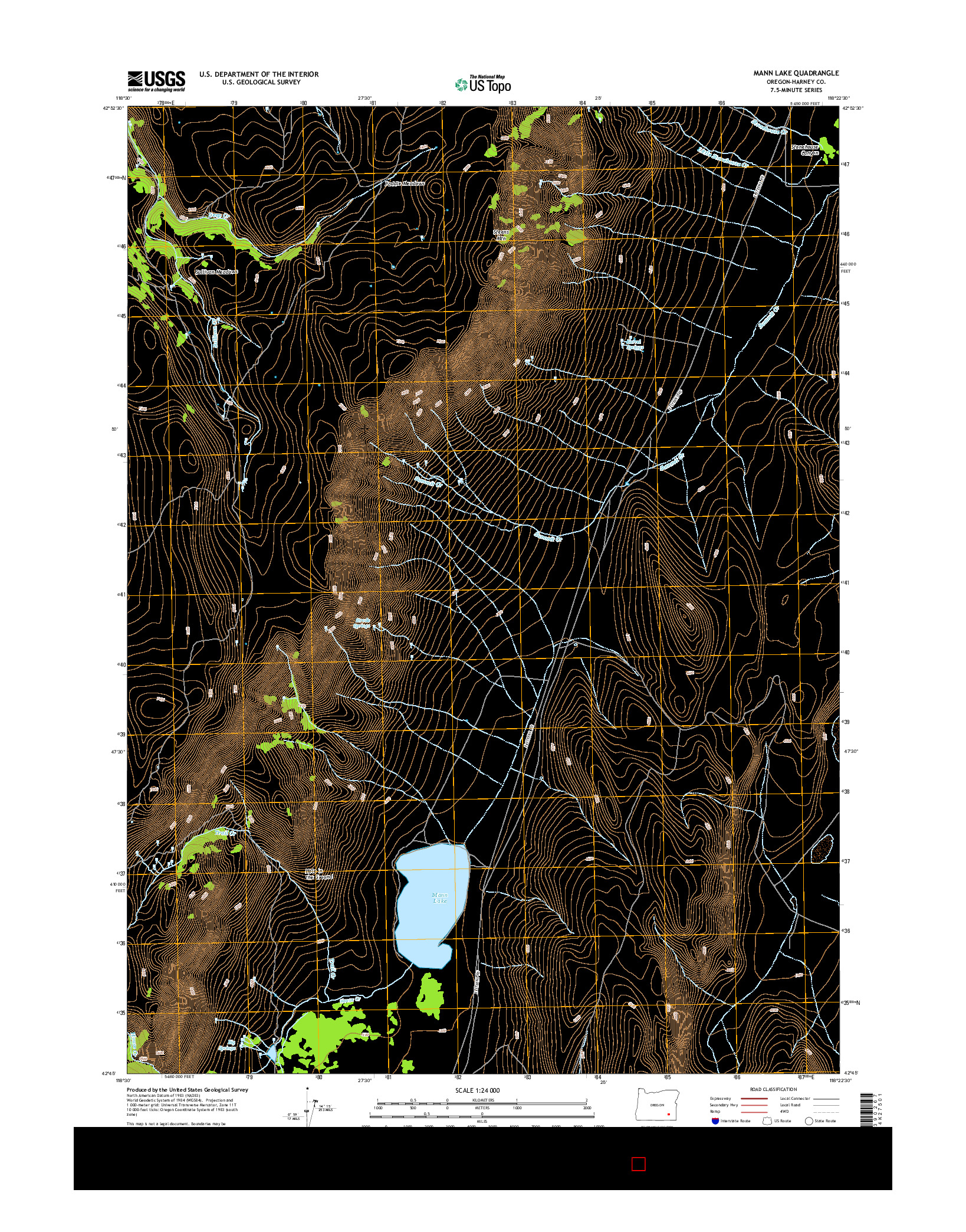 USGS US TOPO 7.5-MINUTE MAP FOR MANN LAKE, OR 2014