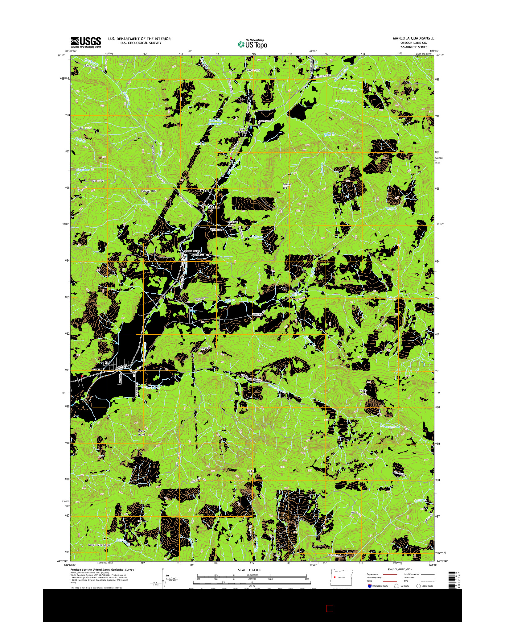 USGS US TOPO 7.5-MINUTE MAP FOR MARCOLA, OR 2014