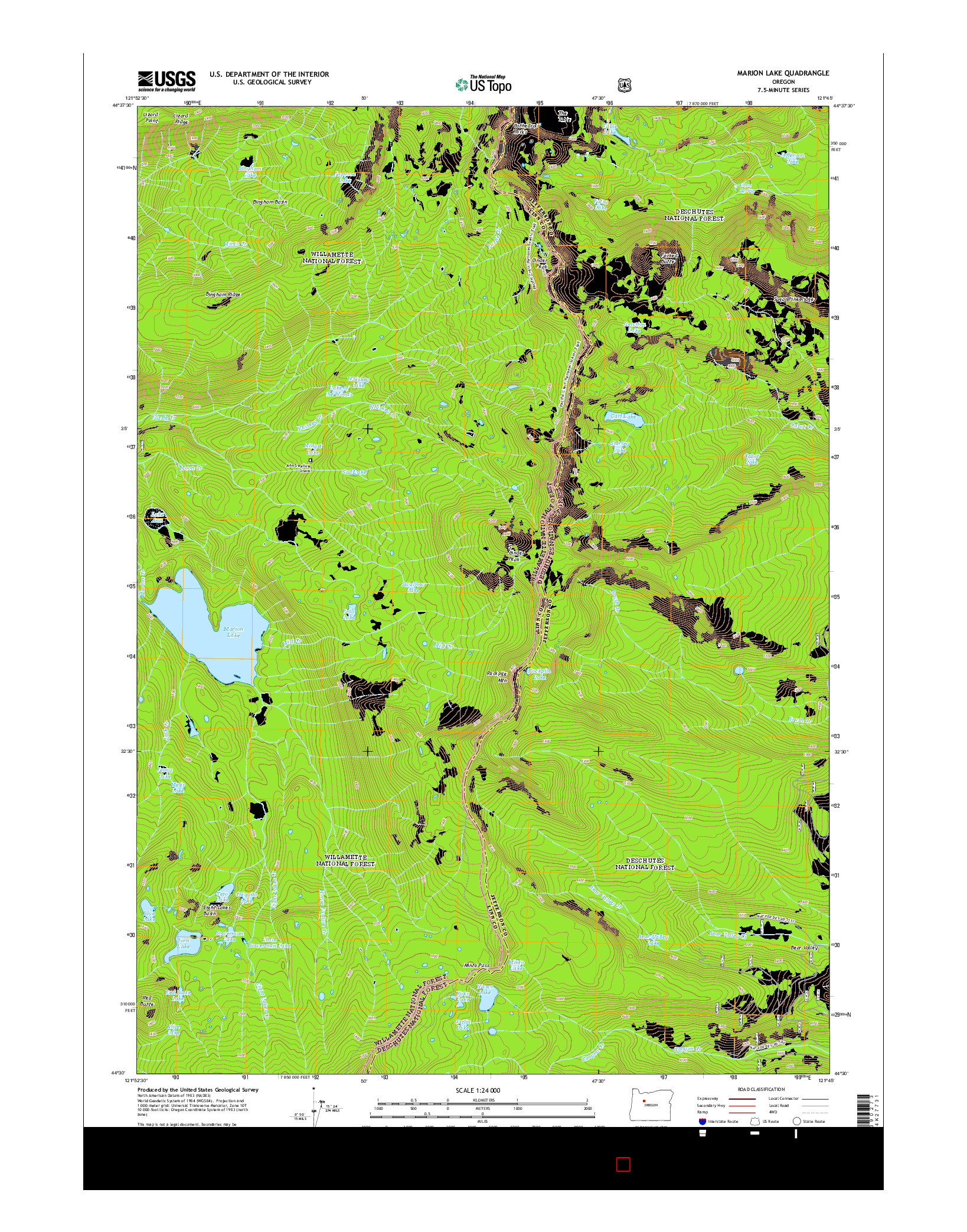 USGS US TOPO 7.5-MINUTE MAP FOR MARION LAKE, OR 2014