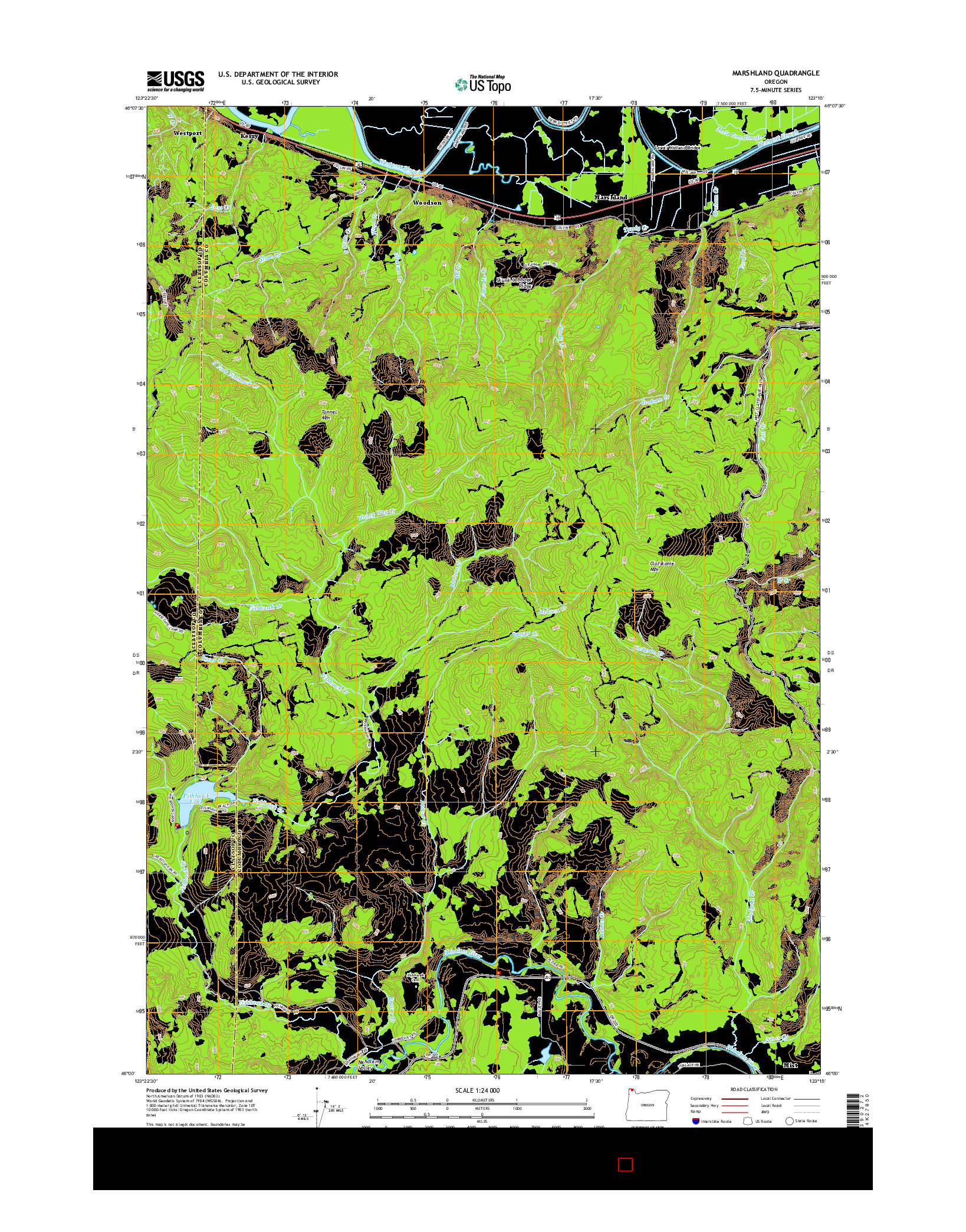 USGS US TOPO 7.5-MINUTE MAP FOR MARSHLAND, OR 2014