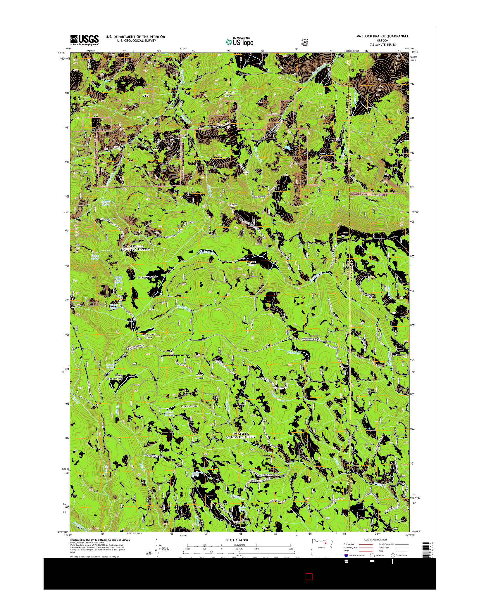 USGS US TOPO 7.5-MINUTE MAP FOR MATLOCK PRAIRIE, OR 2014