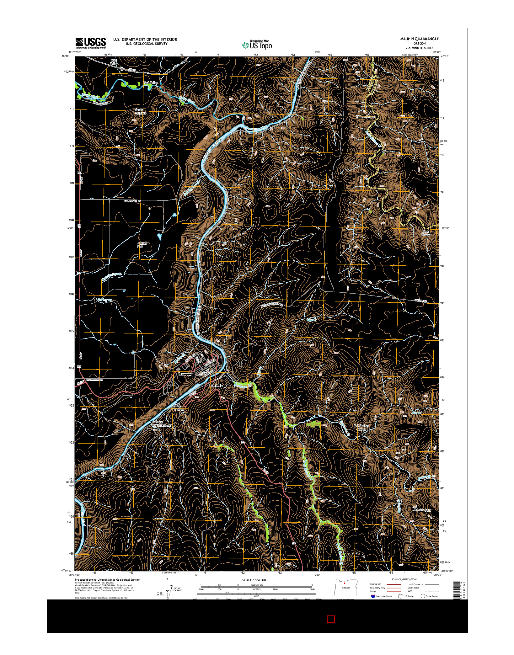 USGS US TOPO 7.5-MINUTE MAP FOR MAUPIN, OR 2014