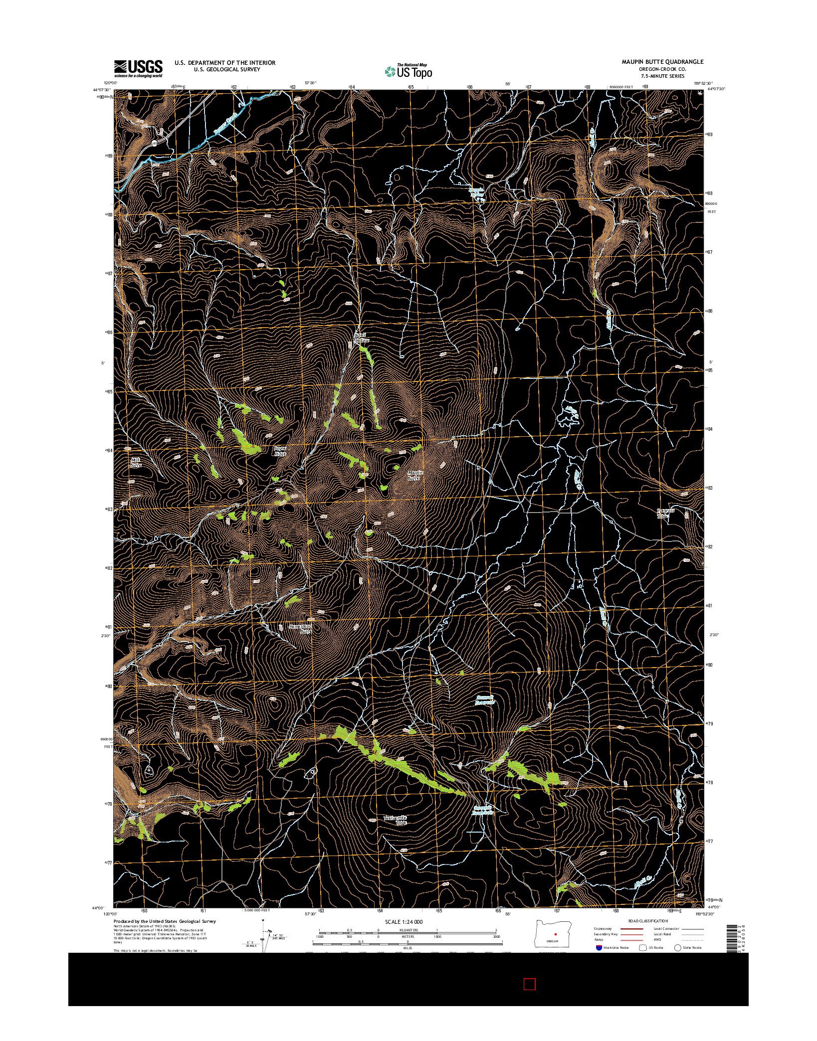 USGS US TOPO 7.5-MINUTE MAP FOR MAUPIN BUTTE, OR 2014