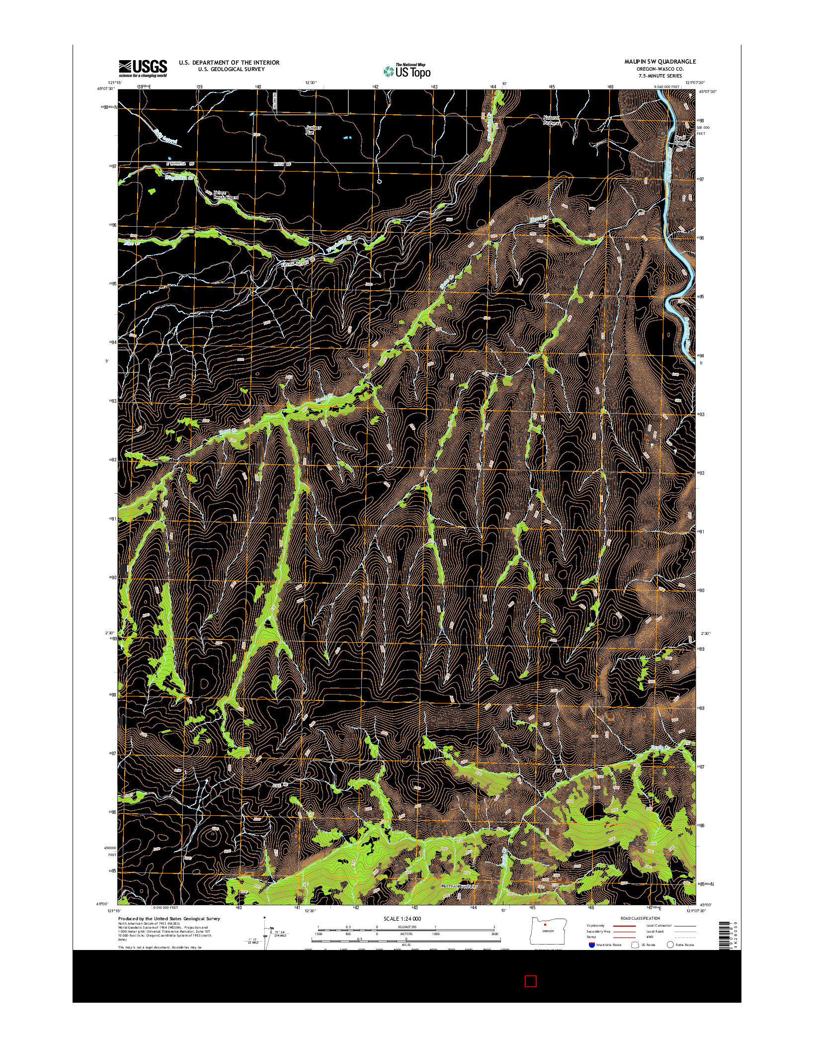 USGS US TOPO 7.5-MINUTE MAP FOR MAUPIN SW, OR 2014