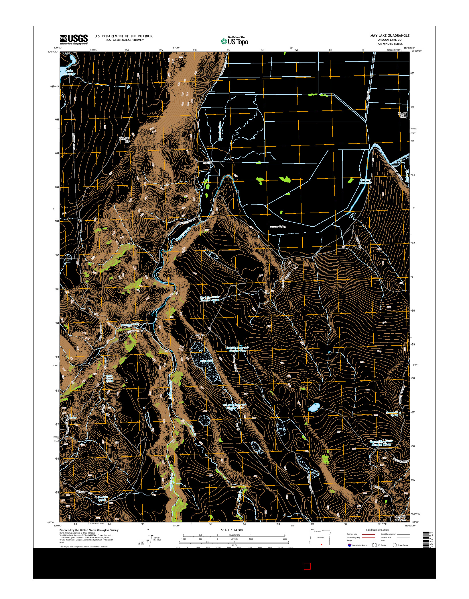 USGS US TOPO 7.5-MINUTE MAP FOR MAY LAKE, OR 2014