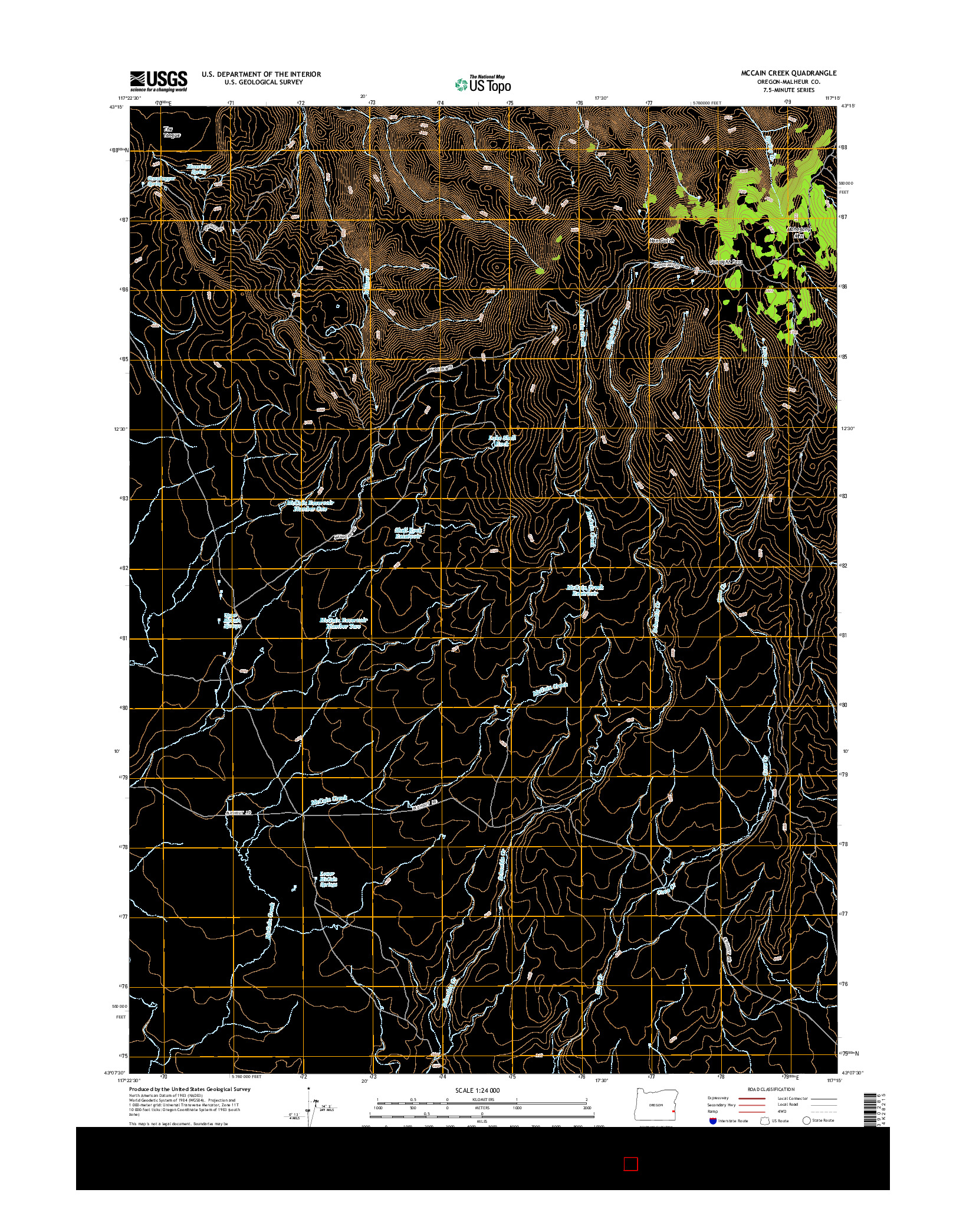 USGS US TOPO 7.5-MINUTE MAP FOR MCCAIN CREEK, OR 2014
