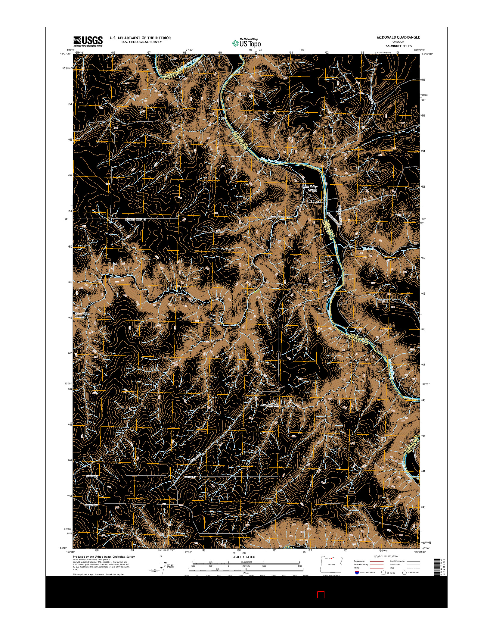 USGS US TOPO 7.5-MINUTE MAP FOR MCDONALD, OR 2014