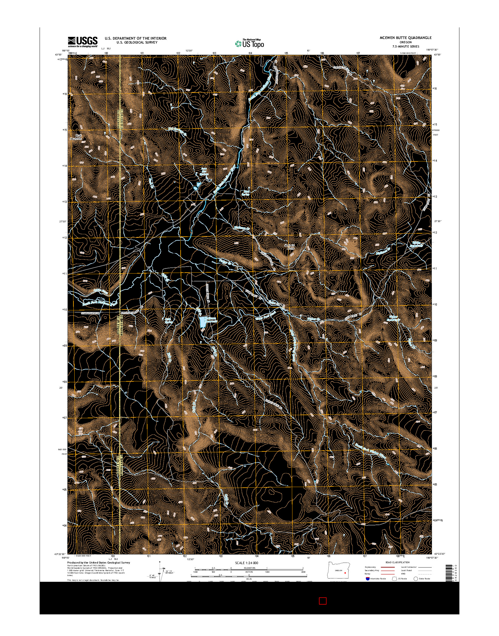USGS US TOPO 7.5-MINUTE MAP FOR MCEWEN BUTTE, OR 2014