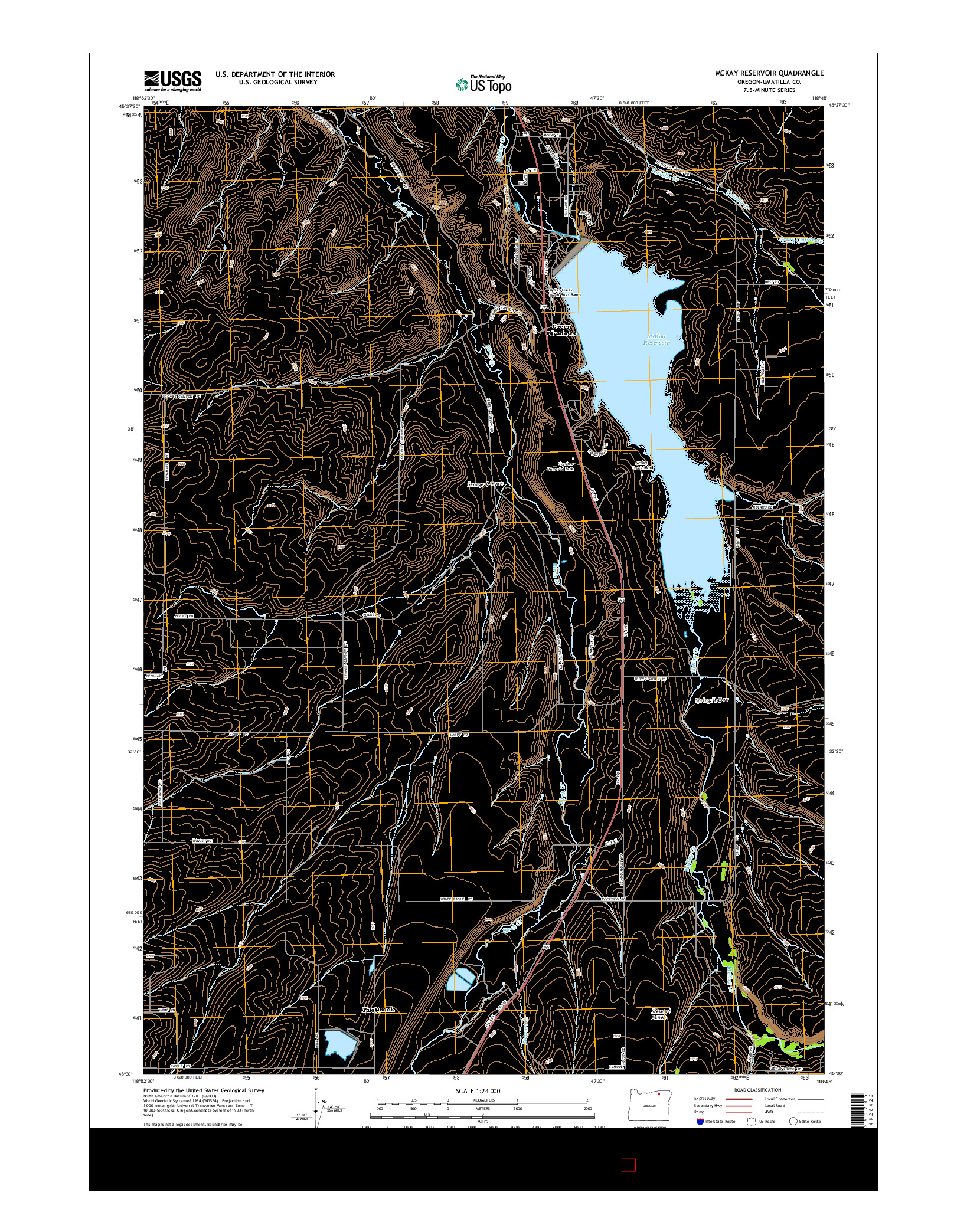 USGS US TOPO 7.5-MINUTE MAP FOR MCKAY RESERVOIR, OR 2014