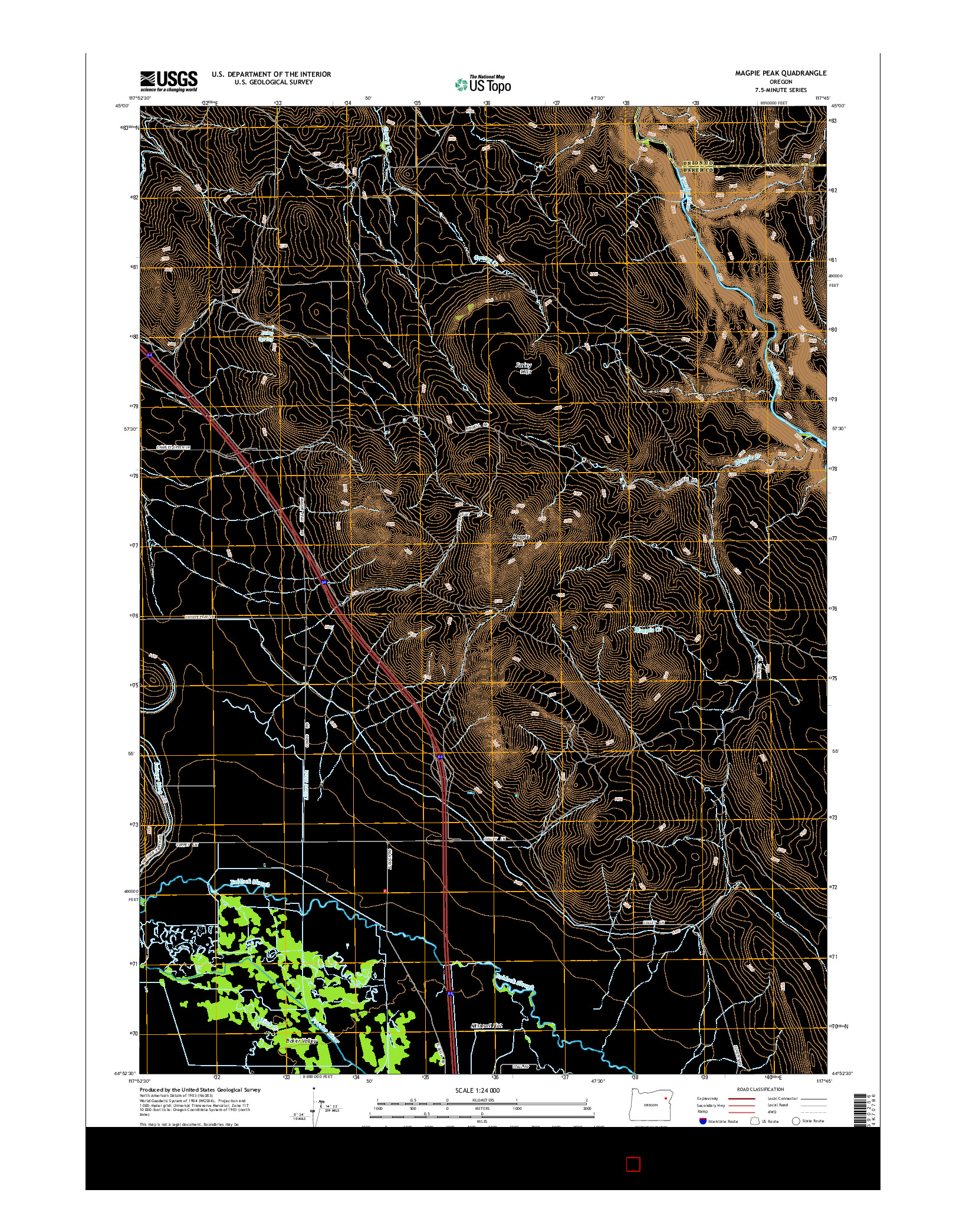 USGS US TOPO 7.5-MINUTE MAP FOR MAGPIE PEAK, OR 2014