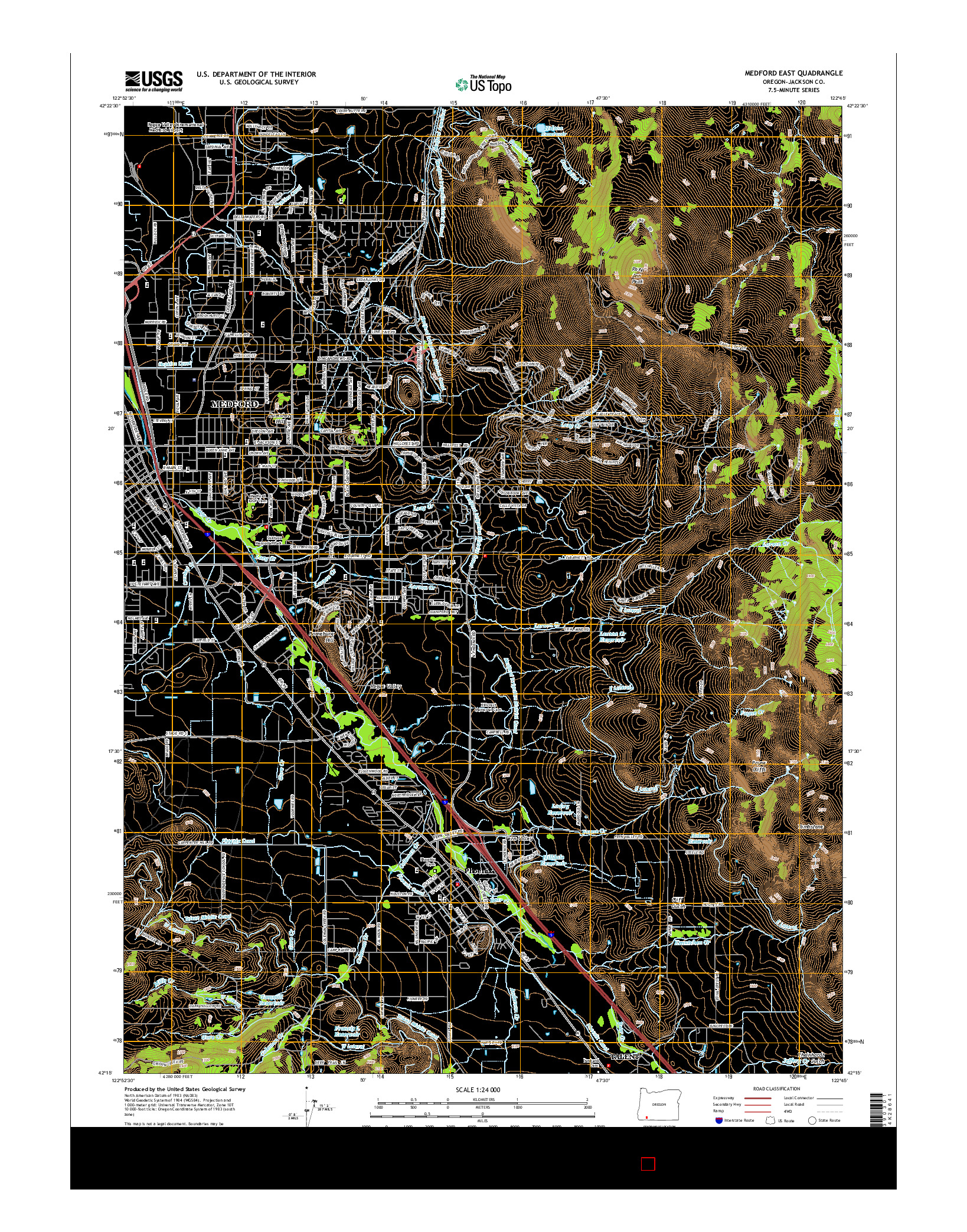 USGS US TOPO 7.5-MINUTE MAP FOR MEDFORD EAST, OR 2014