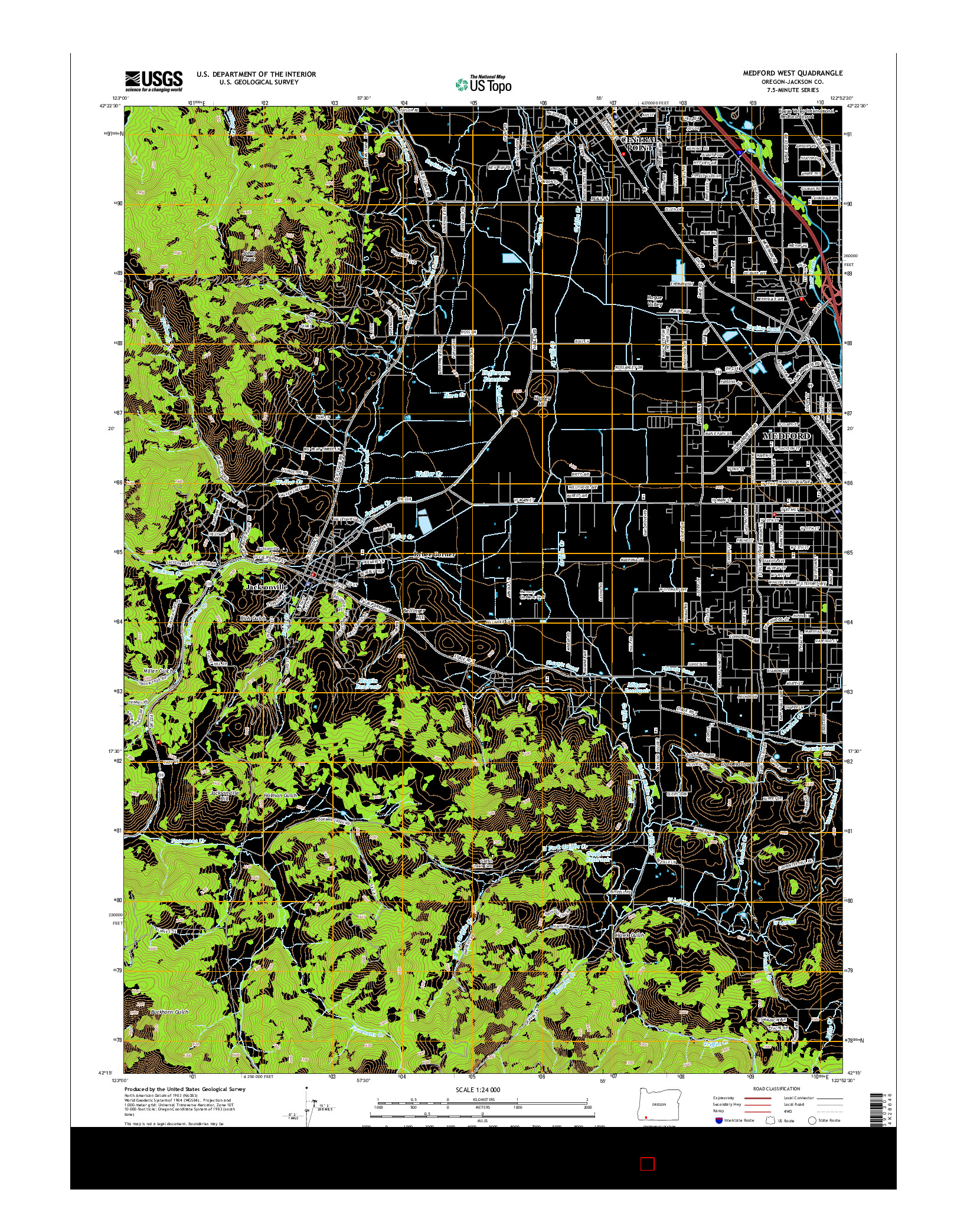 USGS US TOPO 7.5-MINUTE MAP FOR MEDFORD WEST, OR 2014