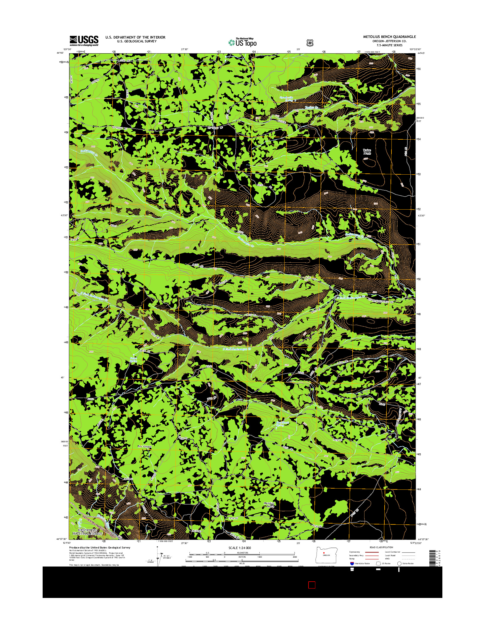 USGS US TOPO 7.5-MINUTE MAP FOR METOLIUS BENCH, OR 2014