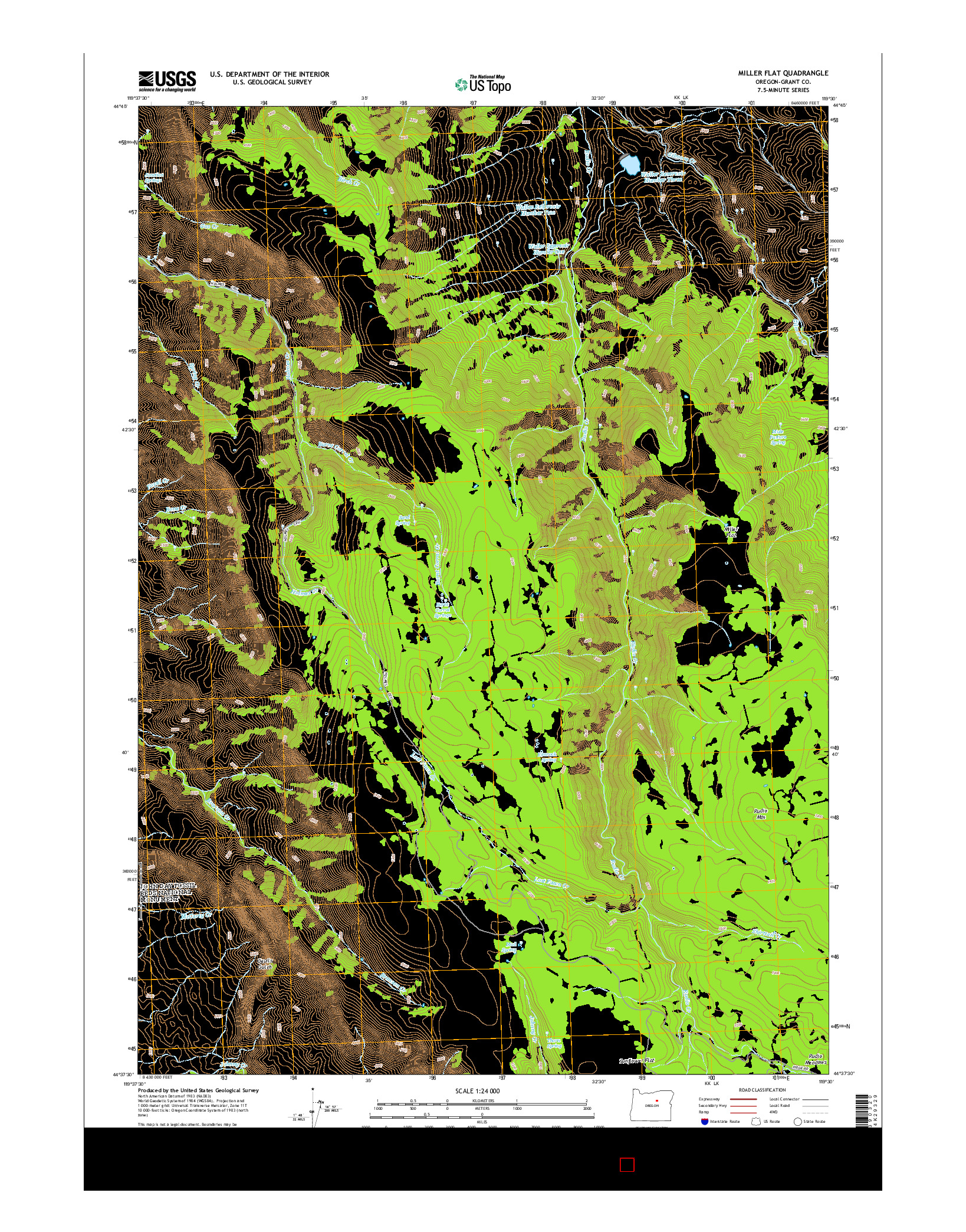 USGS US TOPO 7.5-MINUTE MAP FOR MILLER FLAT, OR 2014